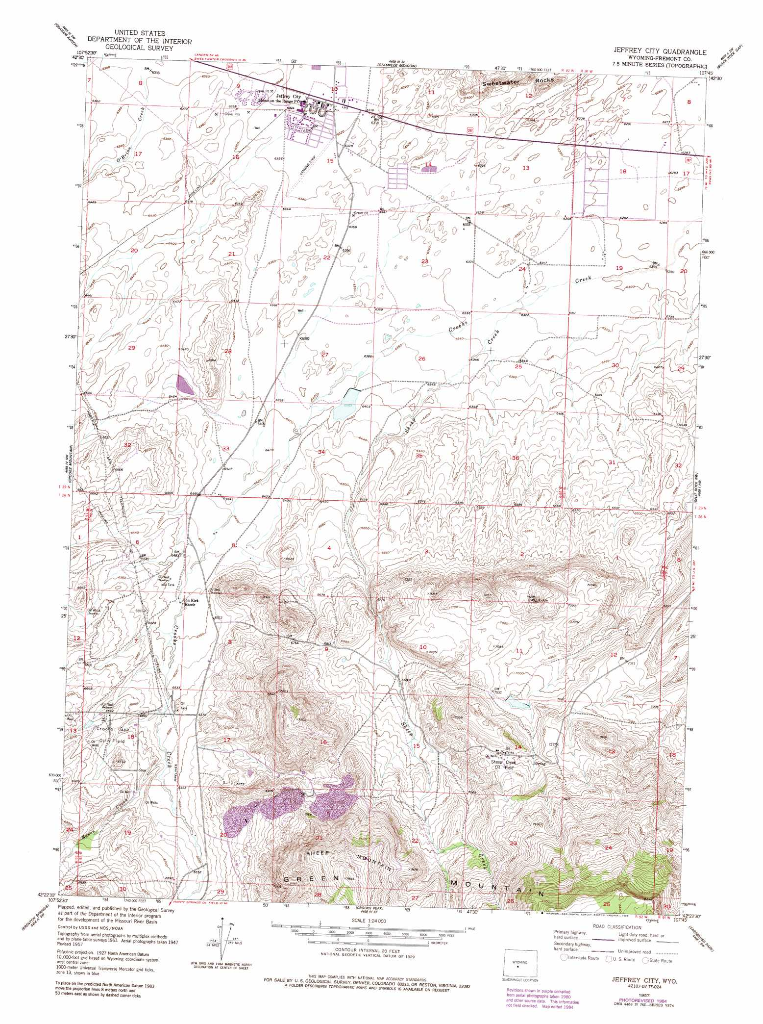Jeffrey City Topographic Map WY  USGS Topo Quad 42107d7