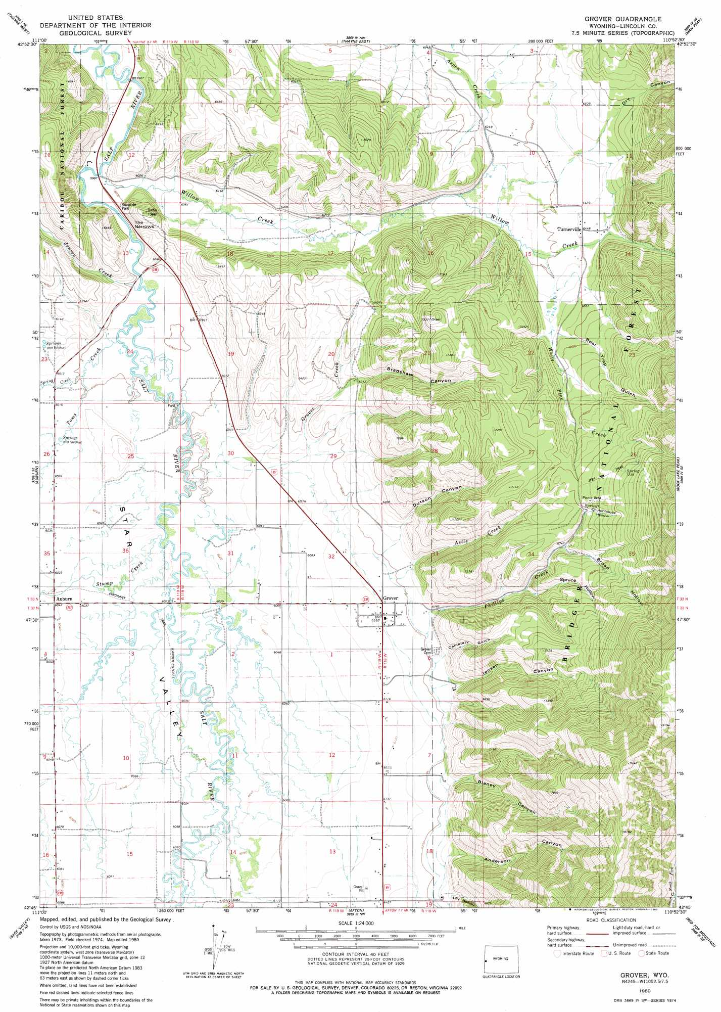 Grover Topographic Map WY  USGS Topo Quad 42110g8
