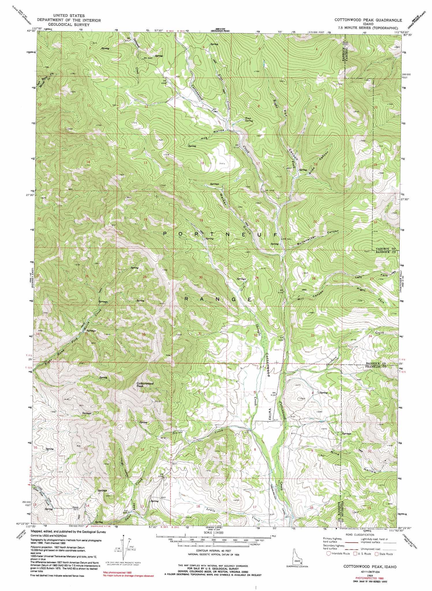 Cottonwood Peak Topographic Map ID  USGS Topo Quad 42111d8