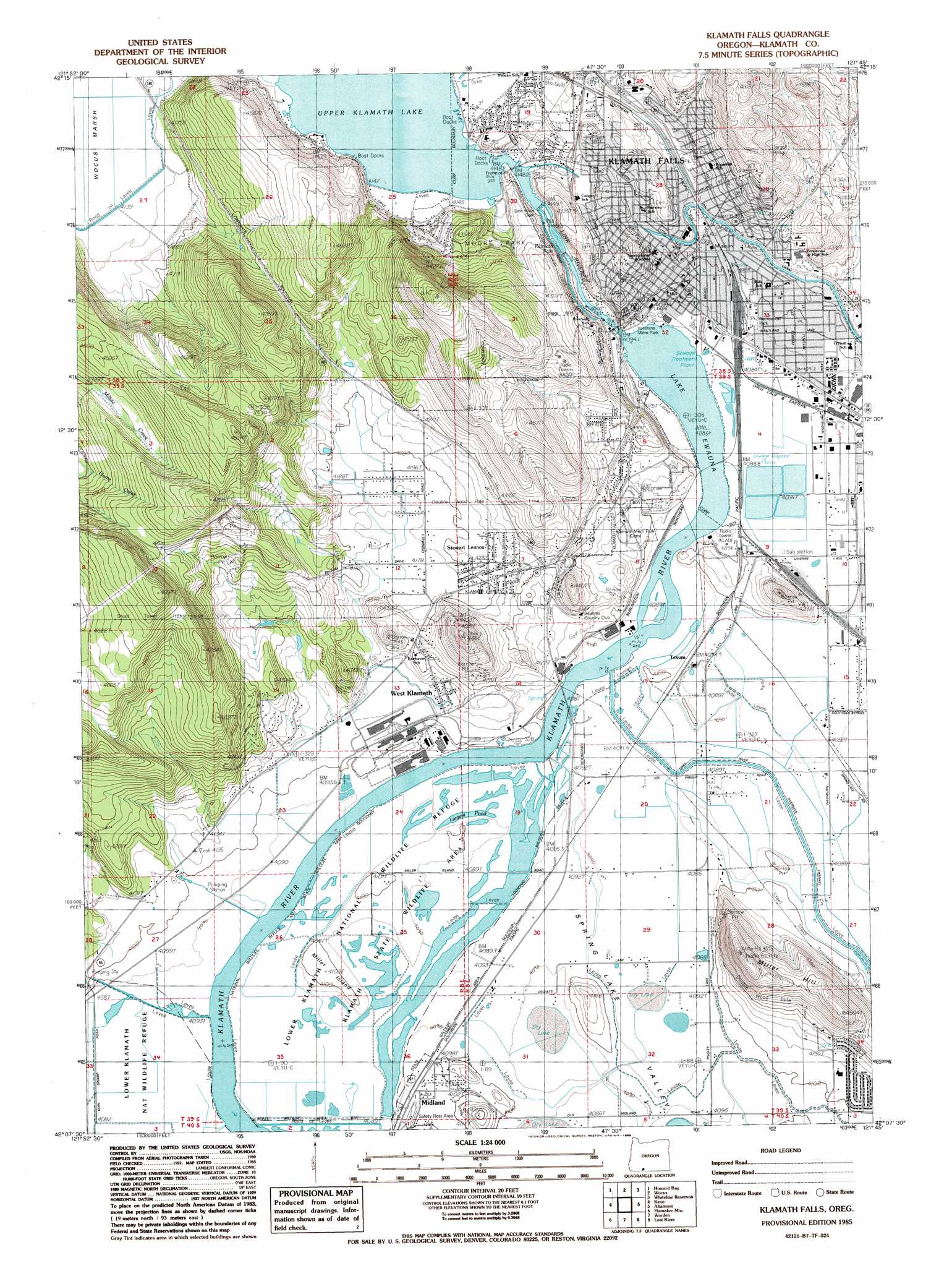 Klamath Falls Topographic Map OR  USGS Topo Quad 42121b7