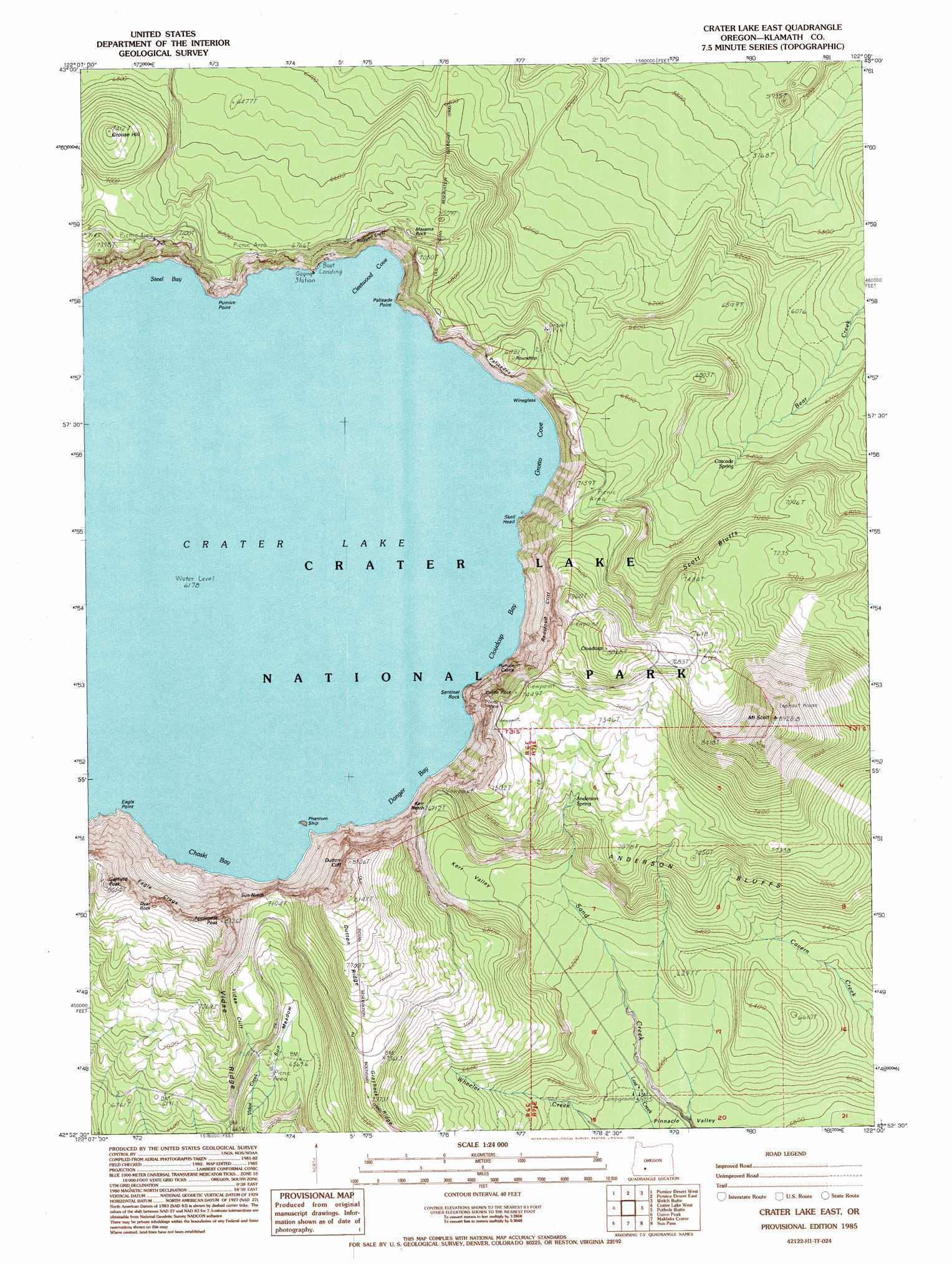 Crater Lake East Topographic Map OR USGS Topo Quad H - Topographical map of oregon