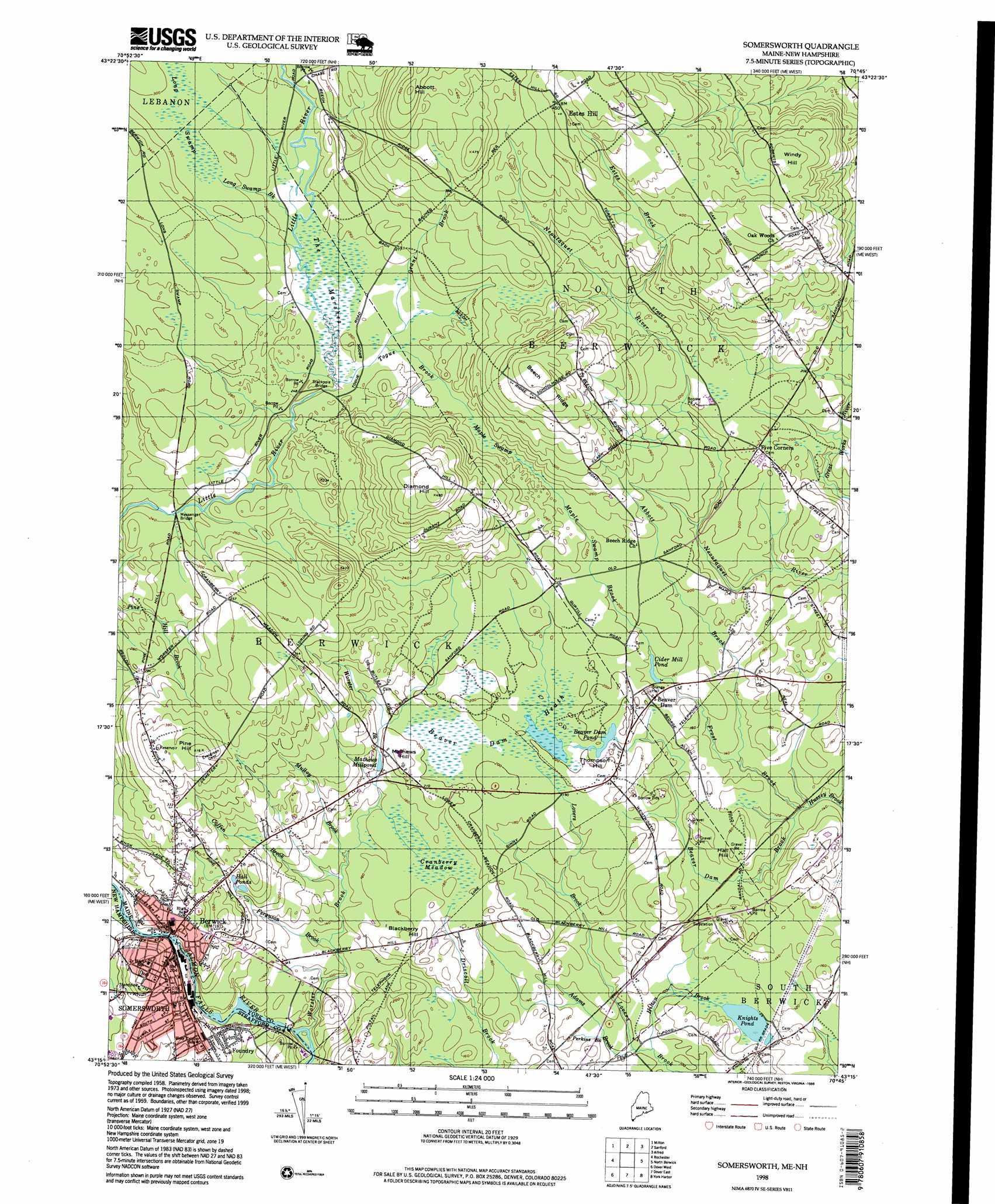 Somersworth topographic map ME NH USGS Topo Quad 43070c7