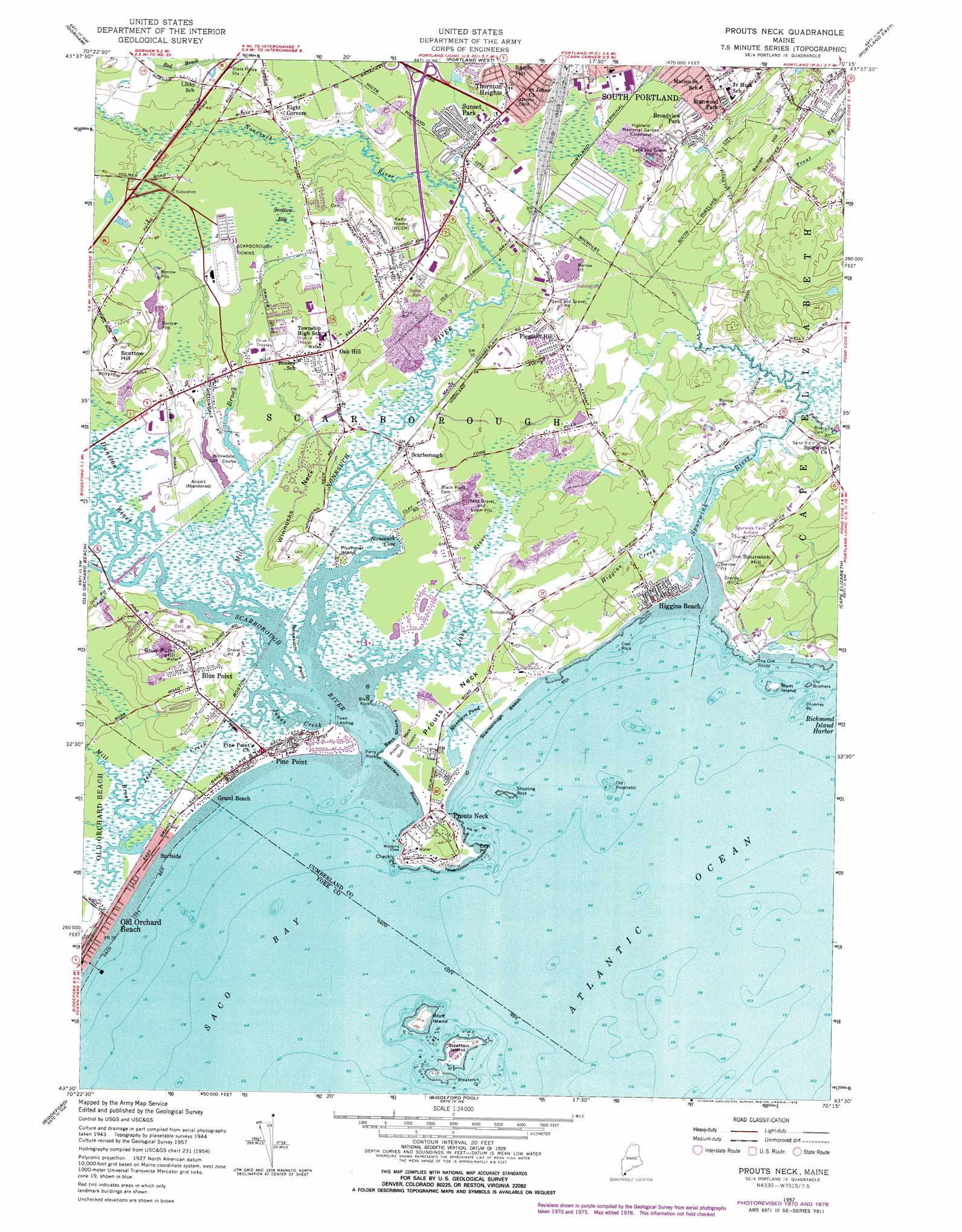 Prouts Neck Topographic Map ME USGS Topo Quad E - Topographical map of maine