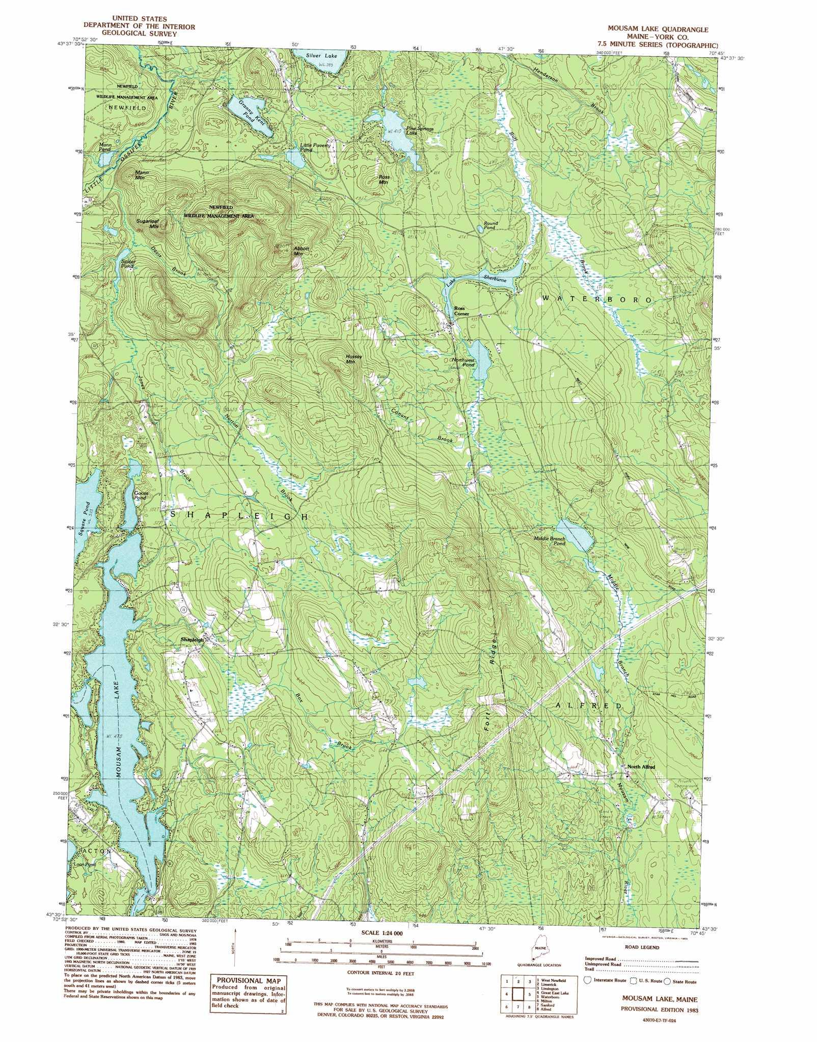 Mousam Lake Topographic Map ME  USGS Topo Quad 43070e7