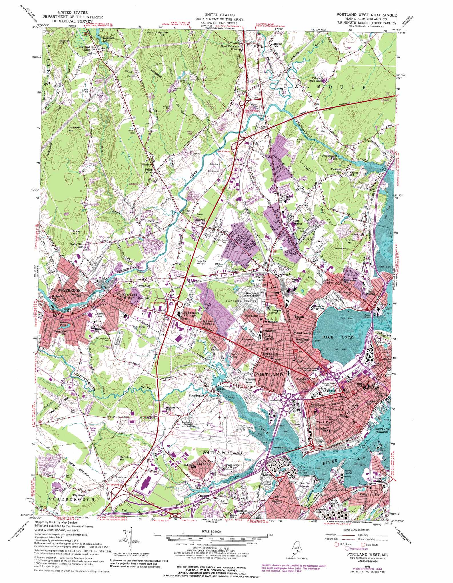 Portland West Topographic Map ME USGS Topo Quad F - Topographical map of maine
