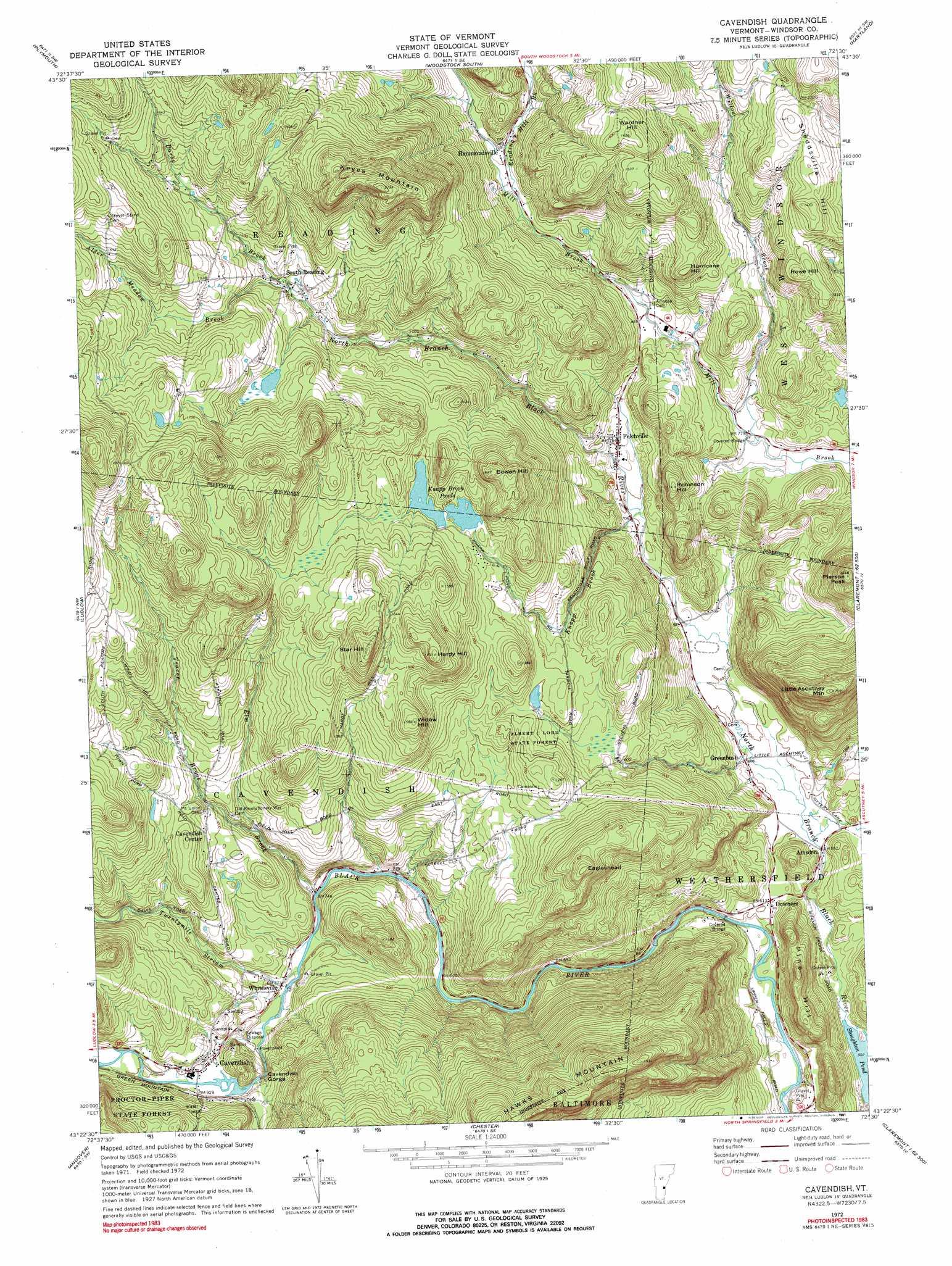 Cavendish topographic map, VT - USGS Topo Quad 43072d5