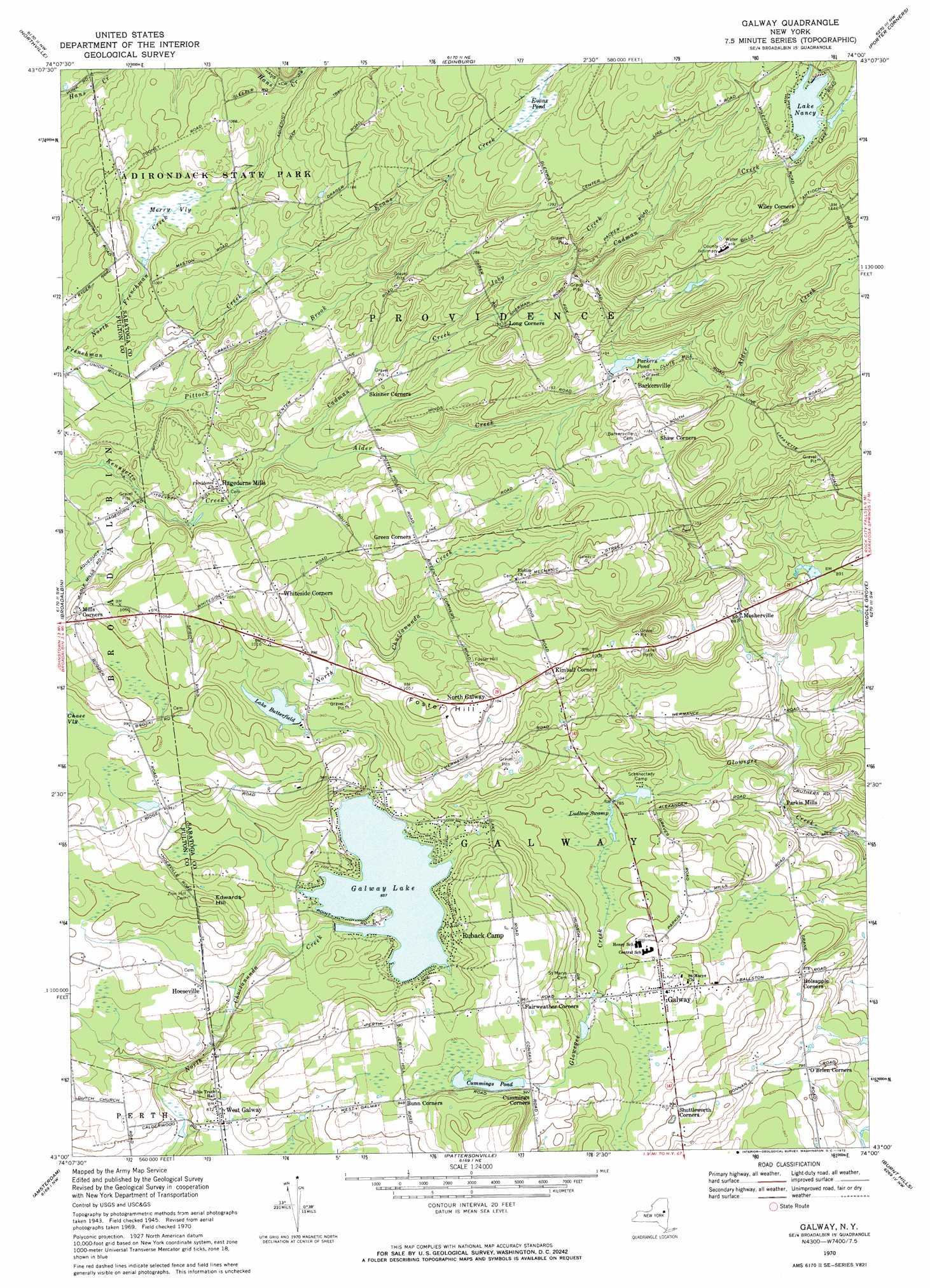 Galway topographic map, NY - USGS Topo Quad 43074a1