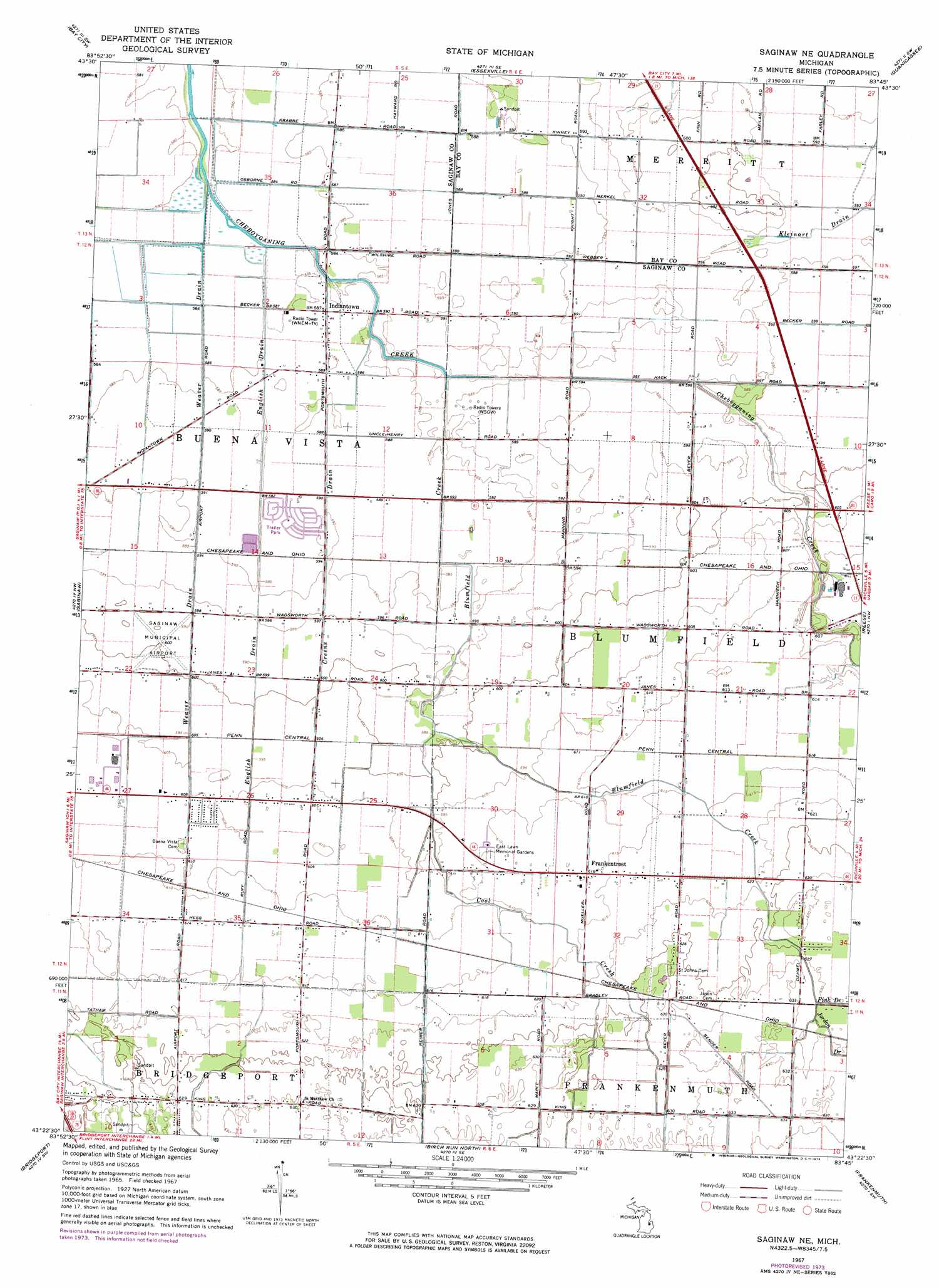 Saginaw Ne Topographic Map MI  USGS Topo Quad 43083d7