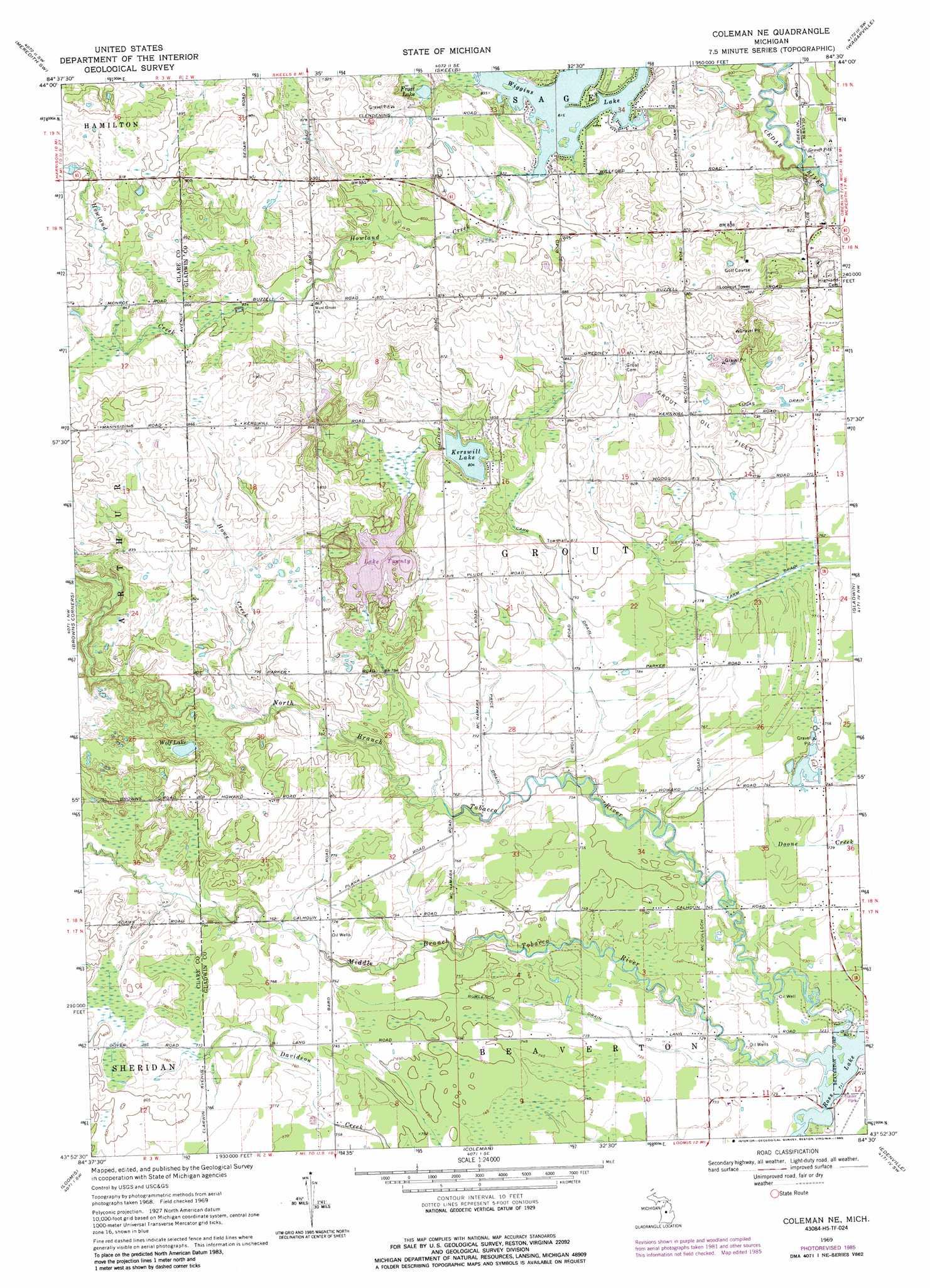 Coleman Michigan Map.Coleman Ne Topographic Map Mi Usgs Topo Quad 43084h5