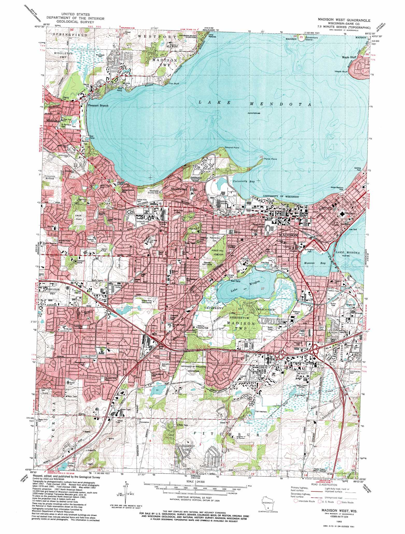 Madison West topographic map WI USGS Topo Quad 43089a4