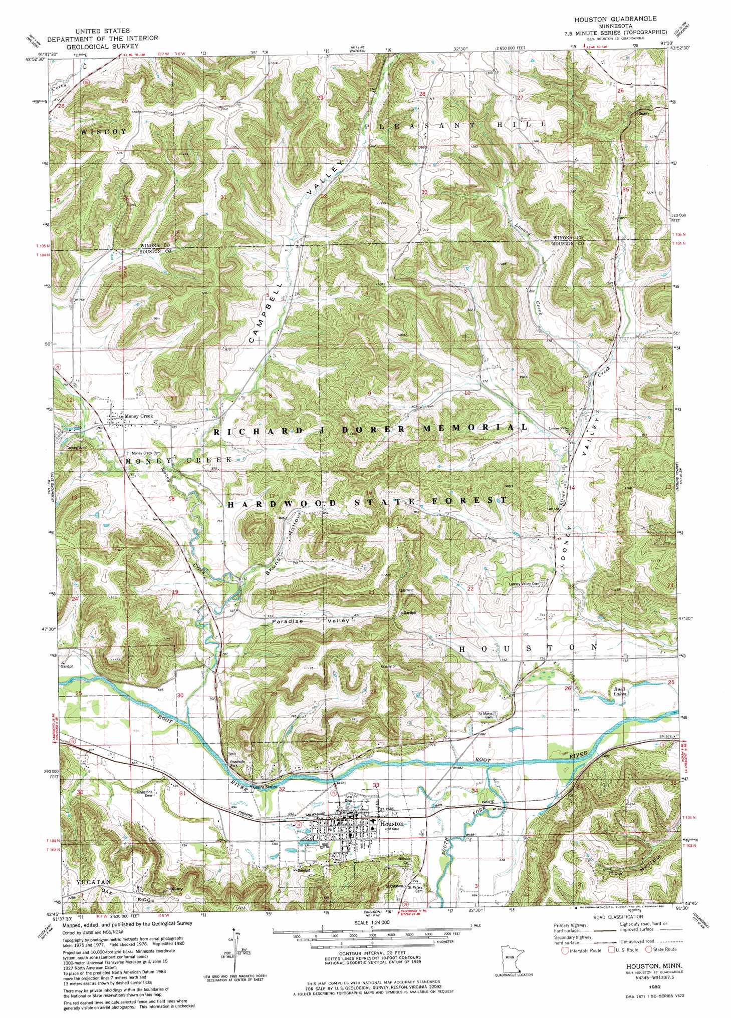 Houston topographic map, MN   USGS Topo Quad 43091g5
