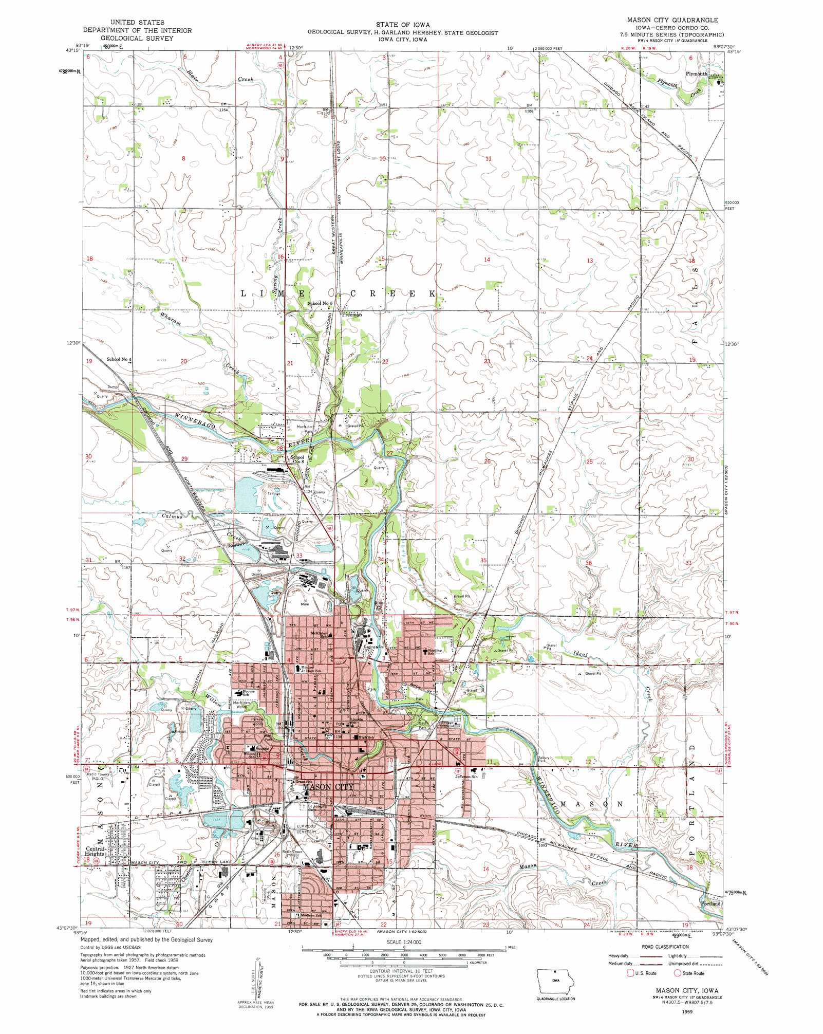 Mason City Topographic Map IA  USGS Topo Quad 43093b2