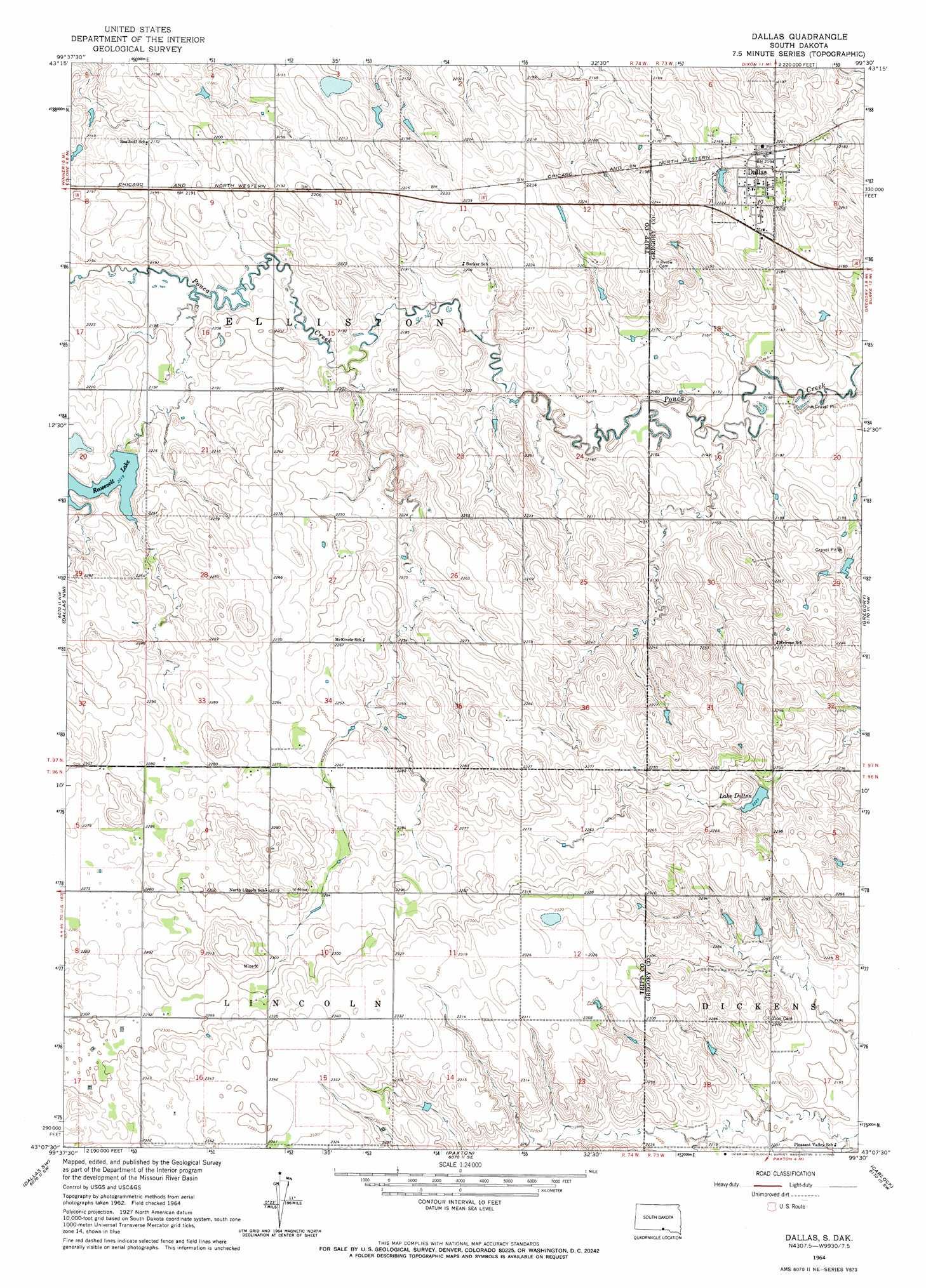 Dallas Topographic Map Sd Usgs Topo Quad 43099b5