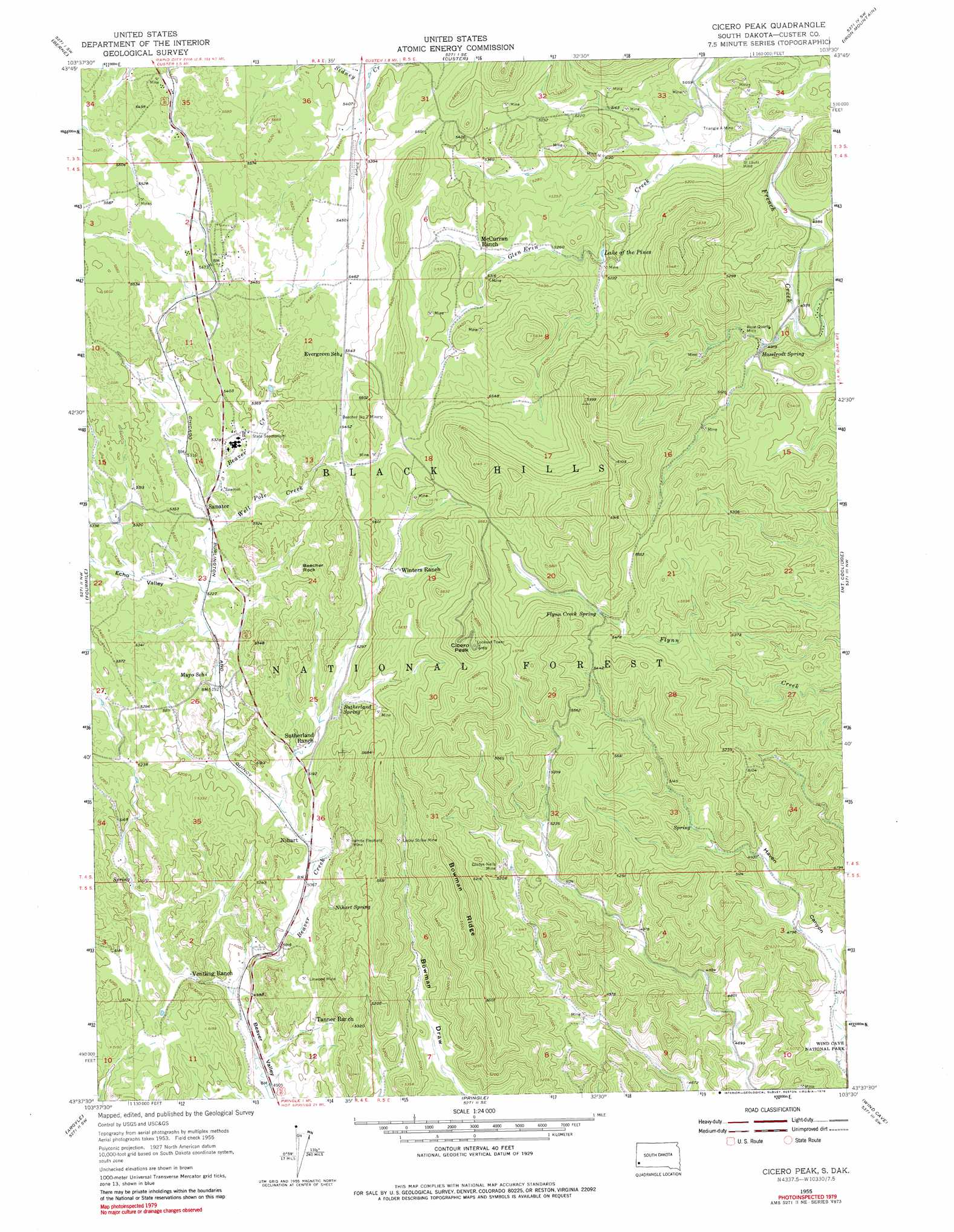Cicero Peak topographic map SD USGS Topo Quad 43103f5