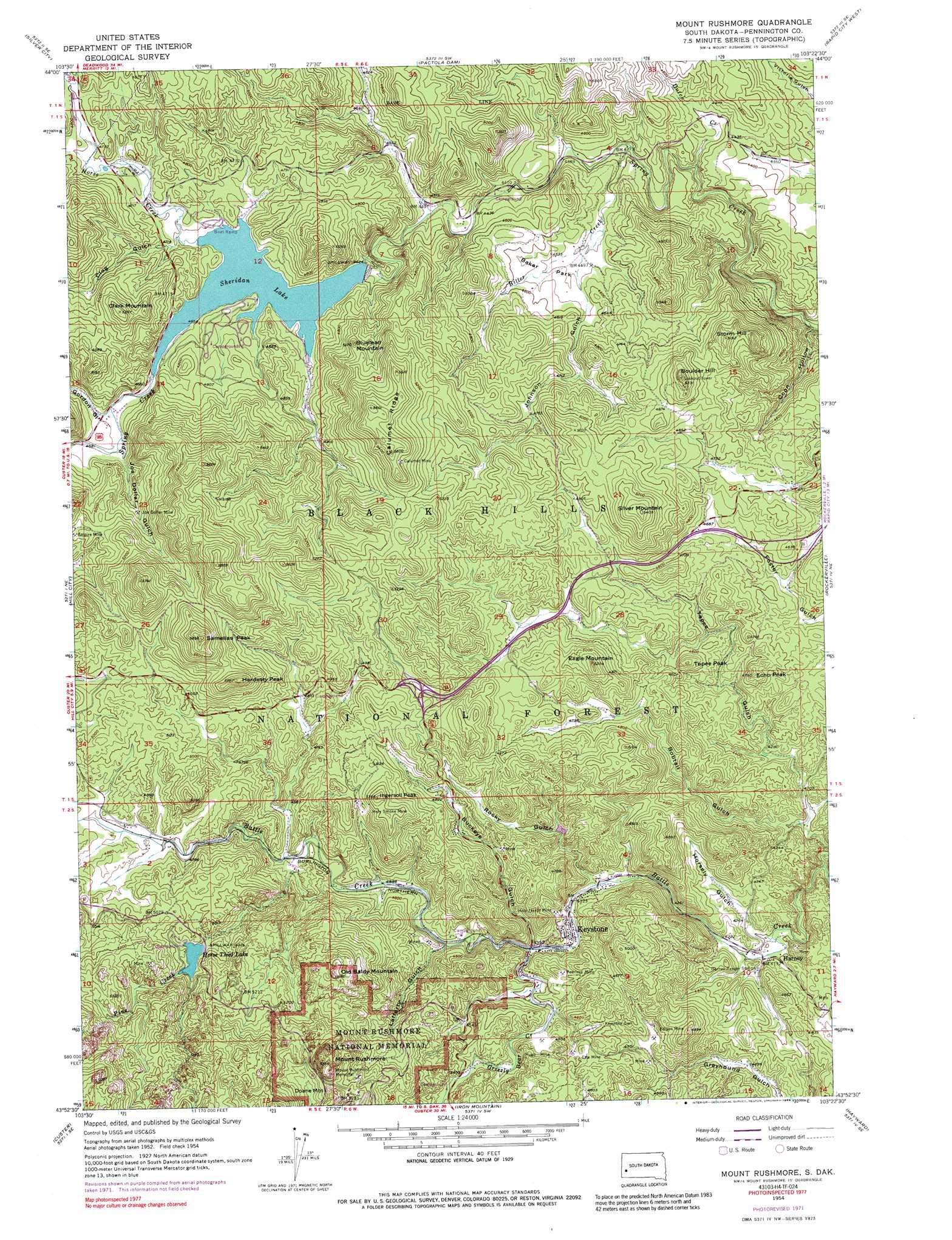Mount Rushmore topographic map SD USGS Topo Quad 43103h4