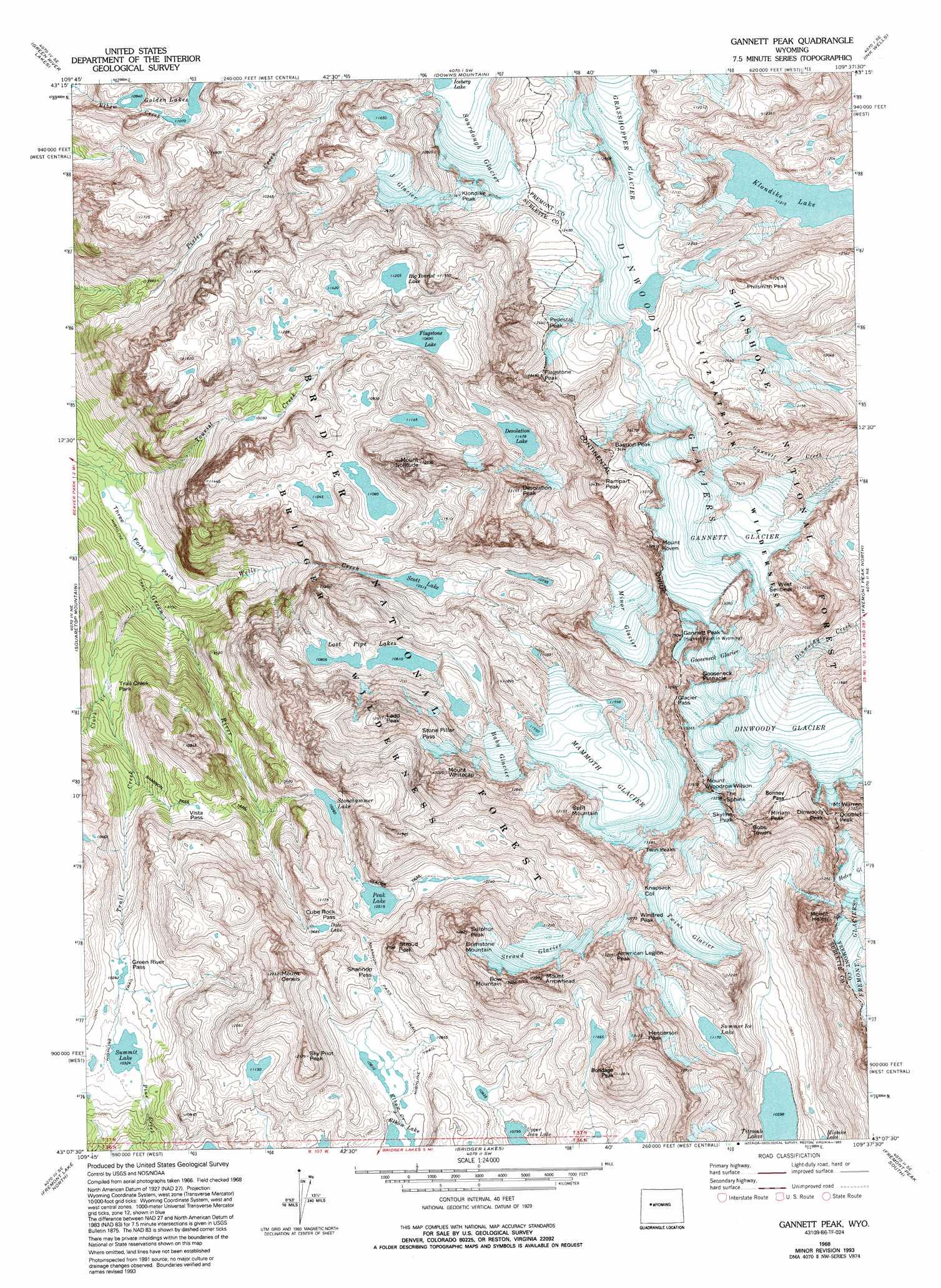 Gannett Peak Topographic Map WY  USGS Topo Quad 43109b6