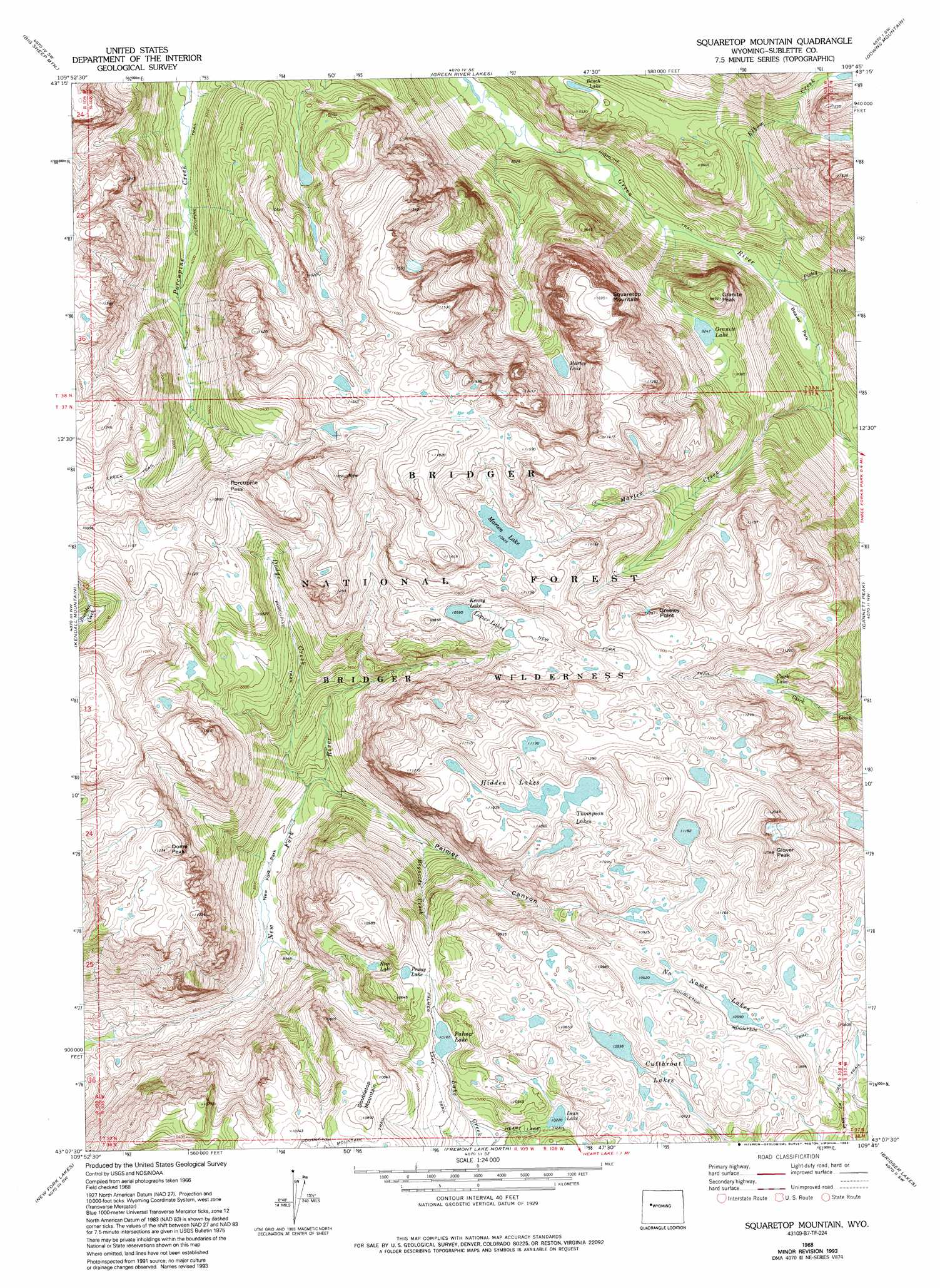 Squaretop Mountain Topographic Map WY  USGS Topo Quad