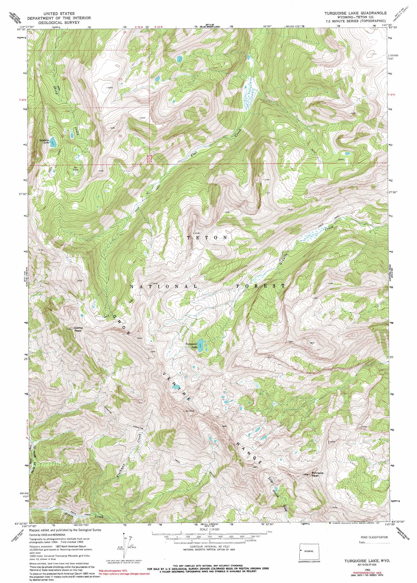 Turquoise Lake Topographic Map Wy Usgs Topo Quad 43110d5