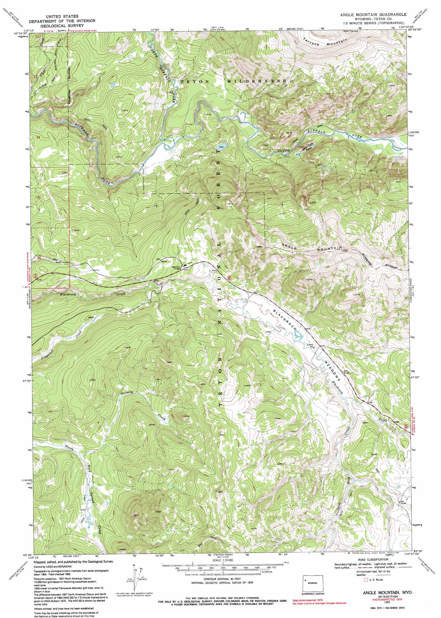 Angle Mountain topographic map, WY - USGS Topo Quad 43110g2