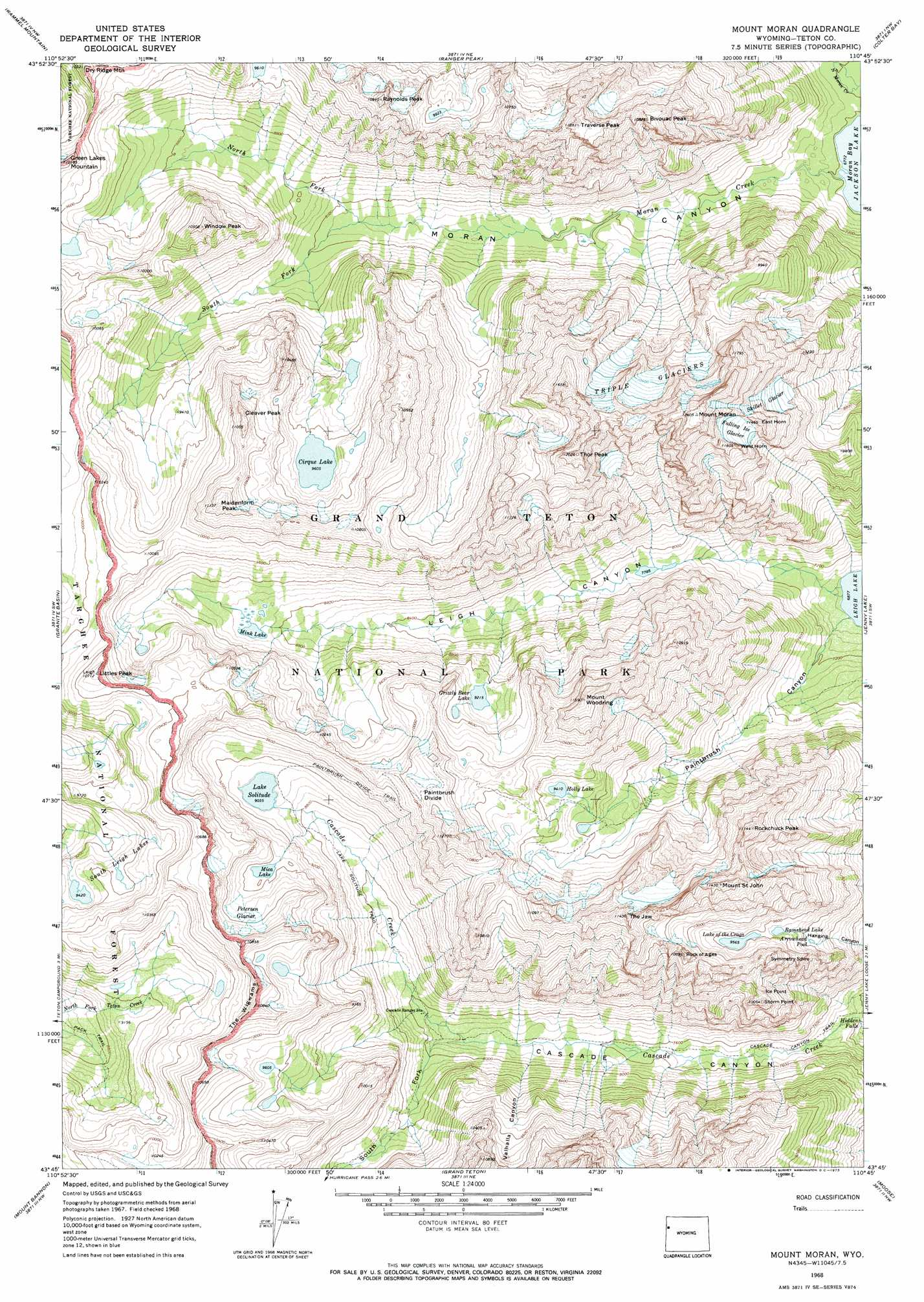 Language In 45 And 47 Stella Street: Mount Moran Topographic Map, WY
