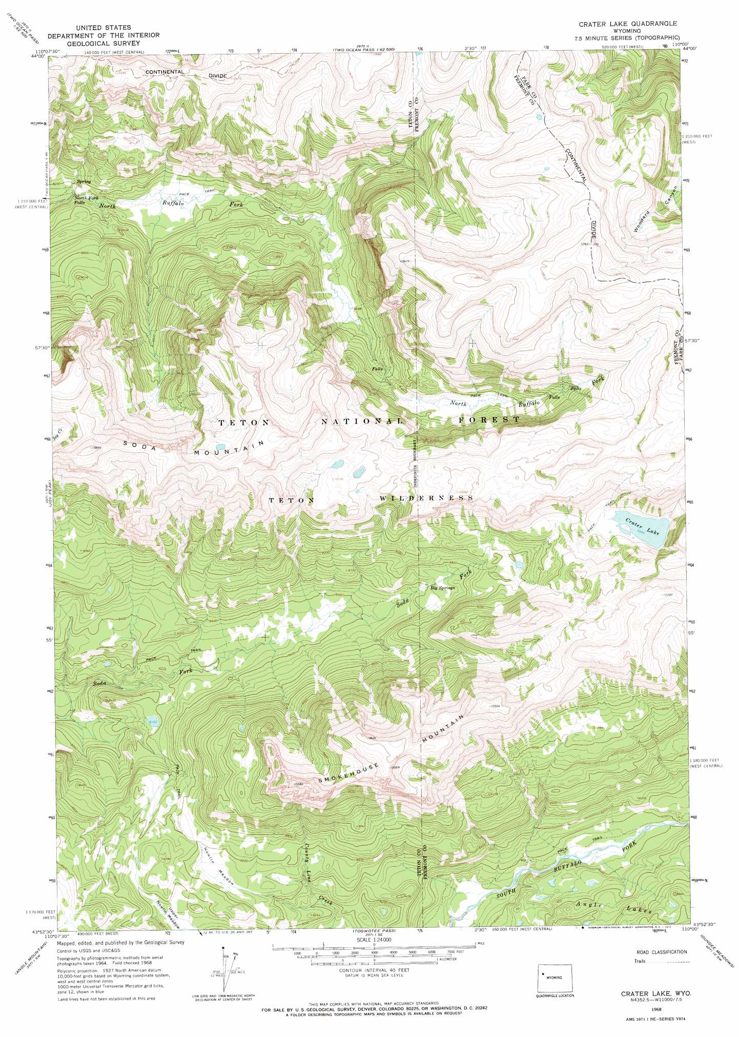 Crater Lake Topographic Map.Crater Lake Topographic Map Wy Usgs Topo Quad 43110h1