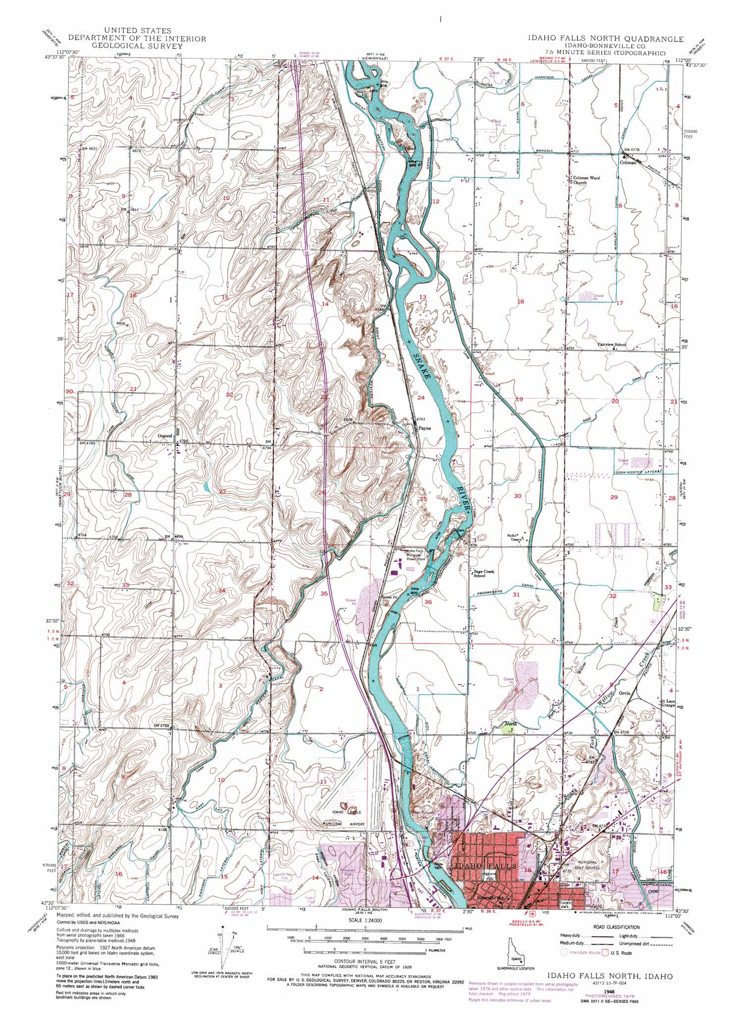 Idaho Falls North topographic map, ID - USGS Topo Quad 43112e1