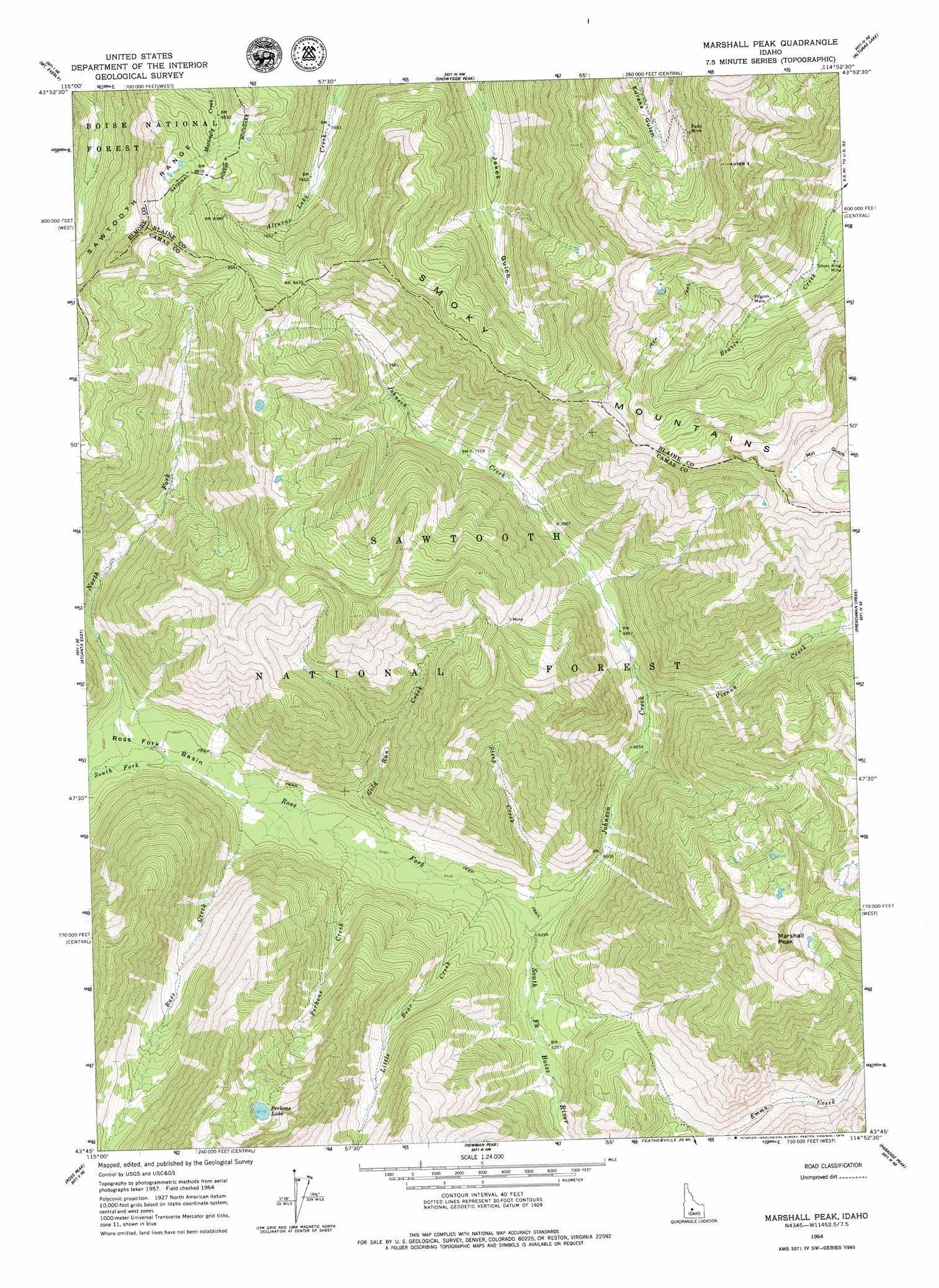 Marshall Peak topographic map, ID - USGS Topo Quad 43114g8