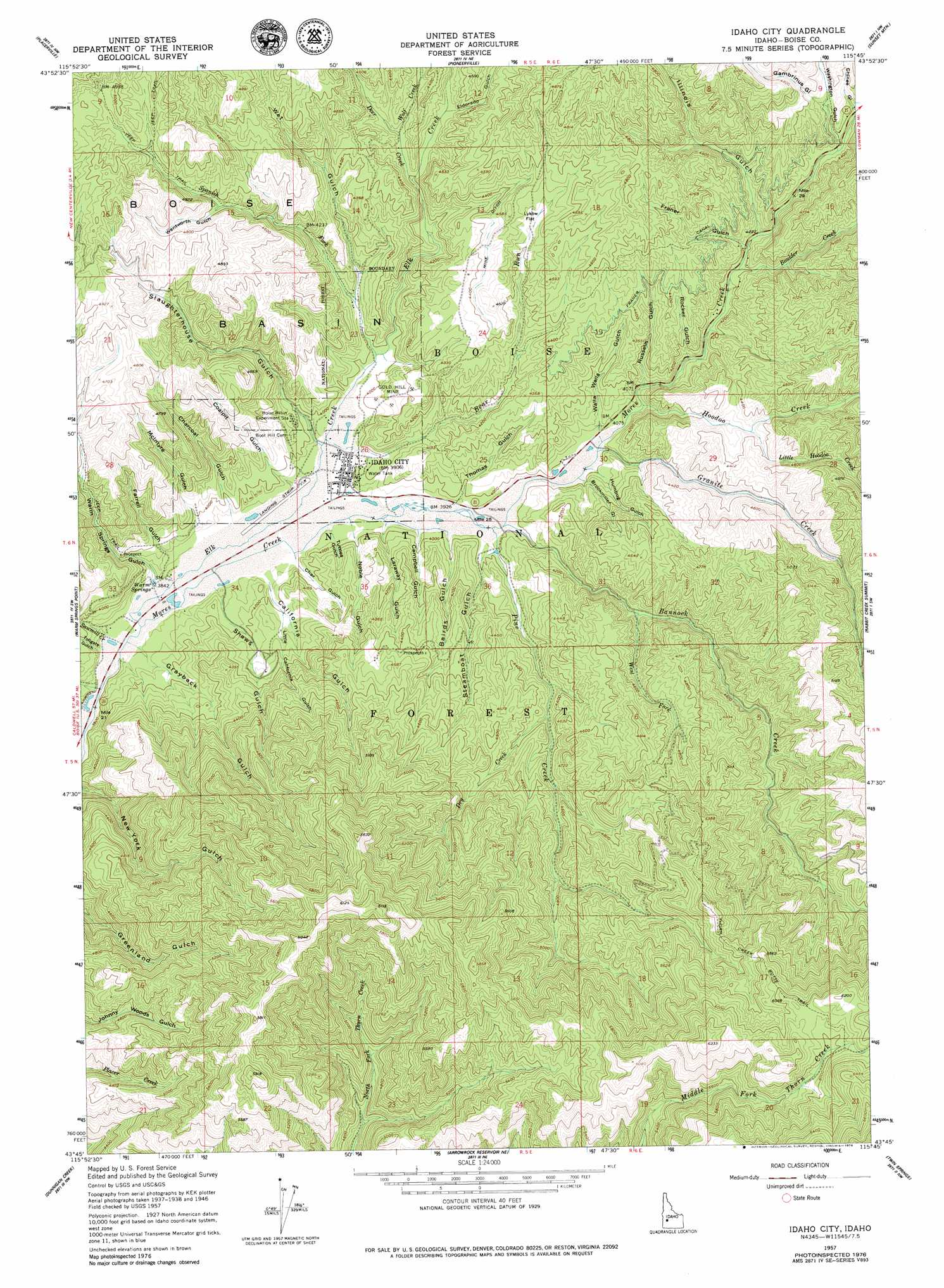 Idaho City topographic map, ID - USGS Topo Quad 43115g7