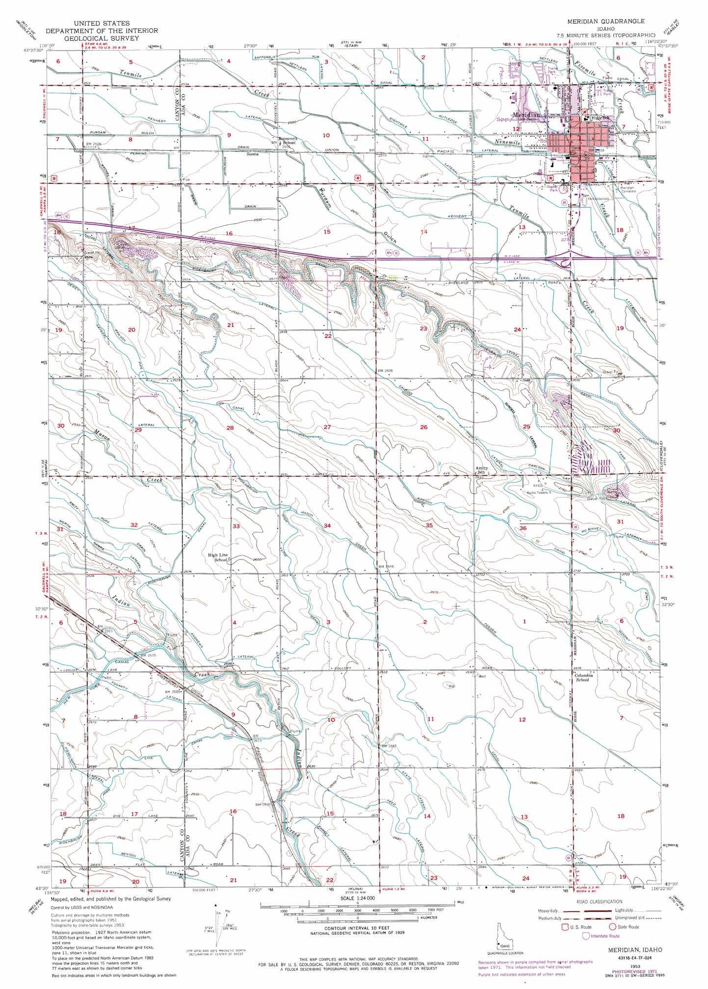 Meridian topographic map ID USGS Topo Quad 43116e4