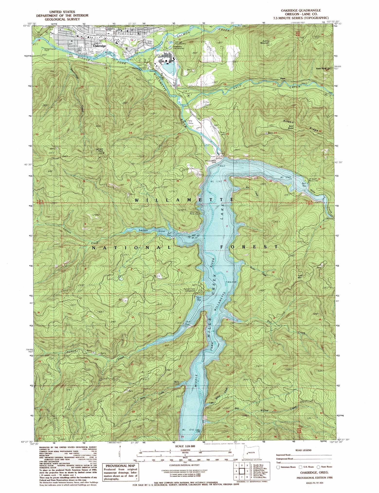 Oakridge topographic map OR  USGS Topo Quad 43122f4