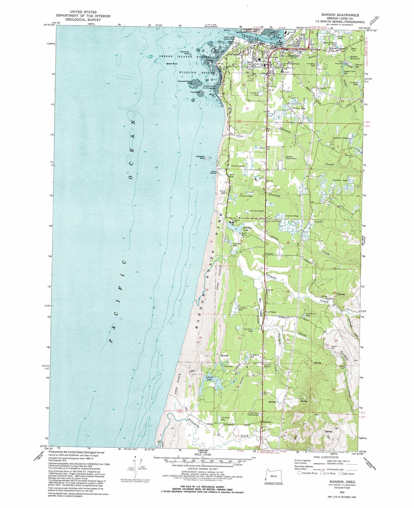 Bandon Topographic Map OR  USGS Topo Quad 43124a4