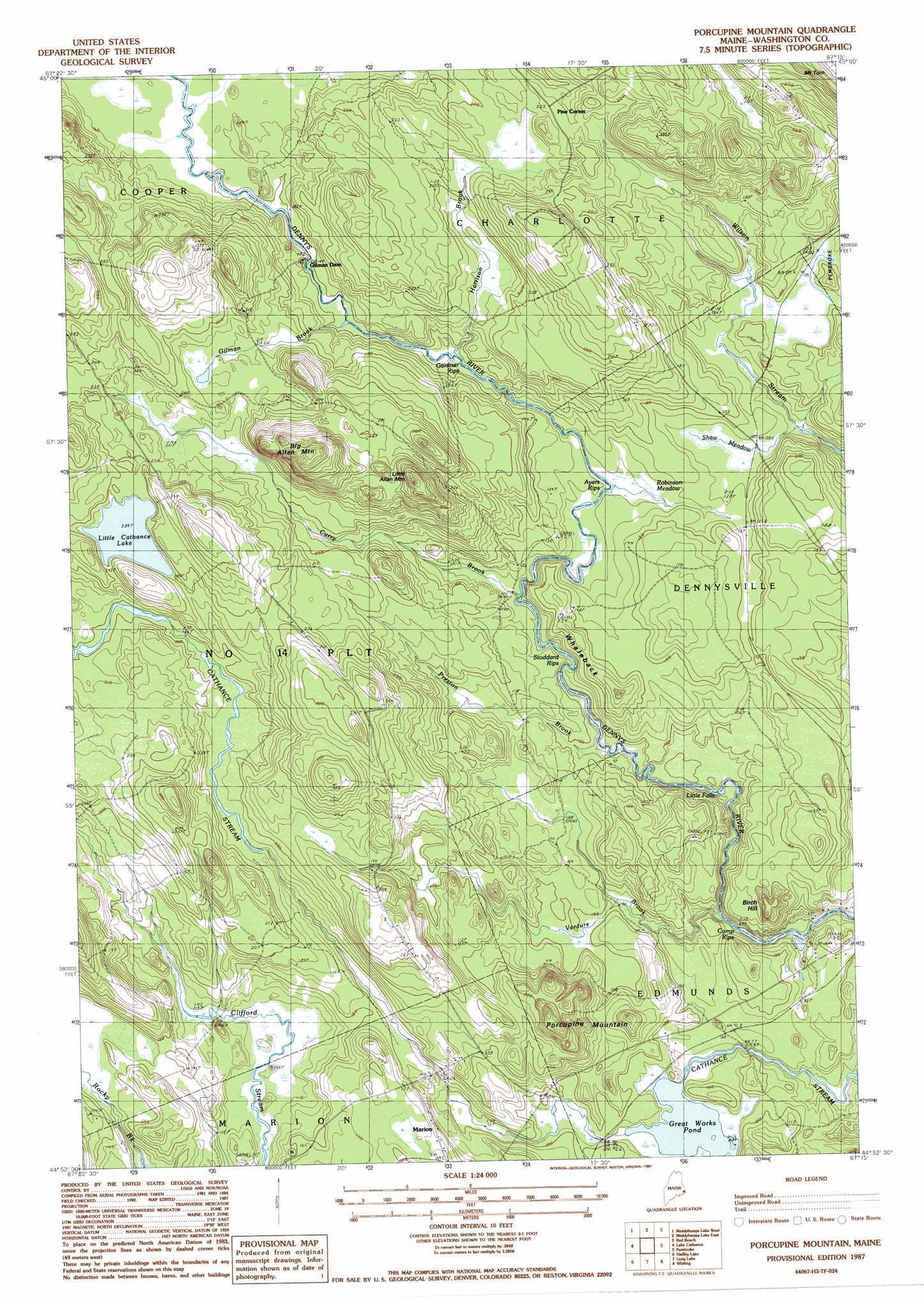 Porcupine Mountain Topographic Map ME USGS Topo Quad H - Where to buy us topo maps