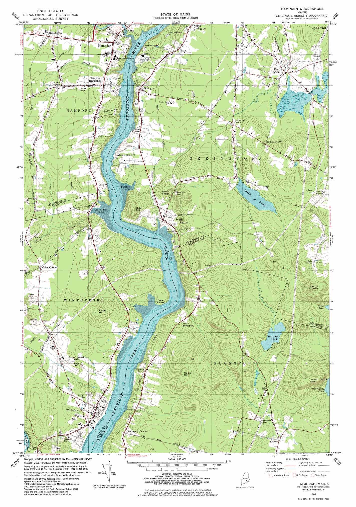 Hampden Topographic Map ME  USGS Topo Quad 44068f7
