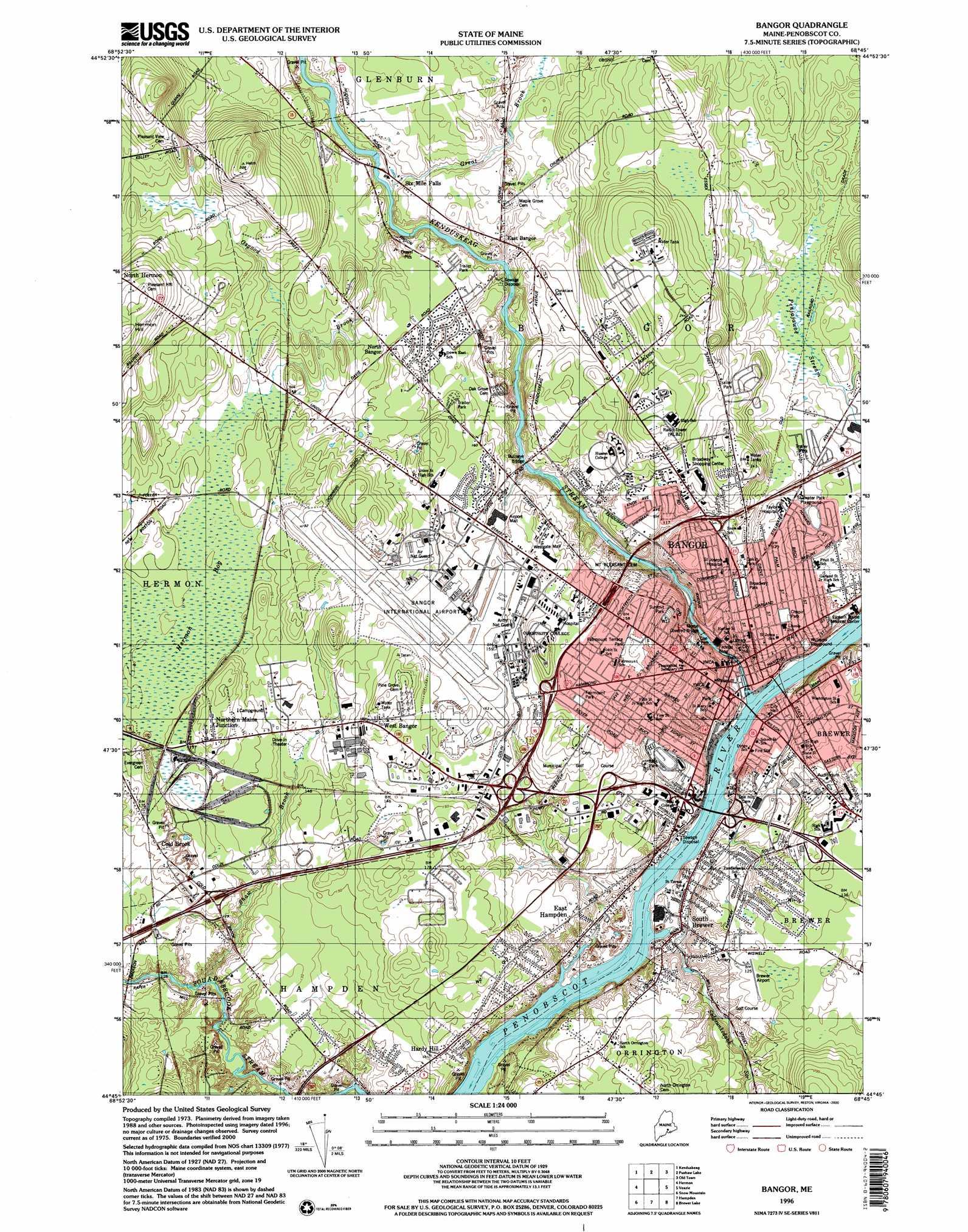 Bangor Topographic Map ME  USGS Topo Quad 44068g7