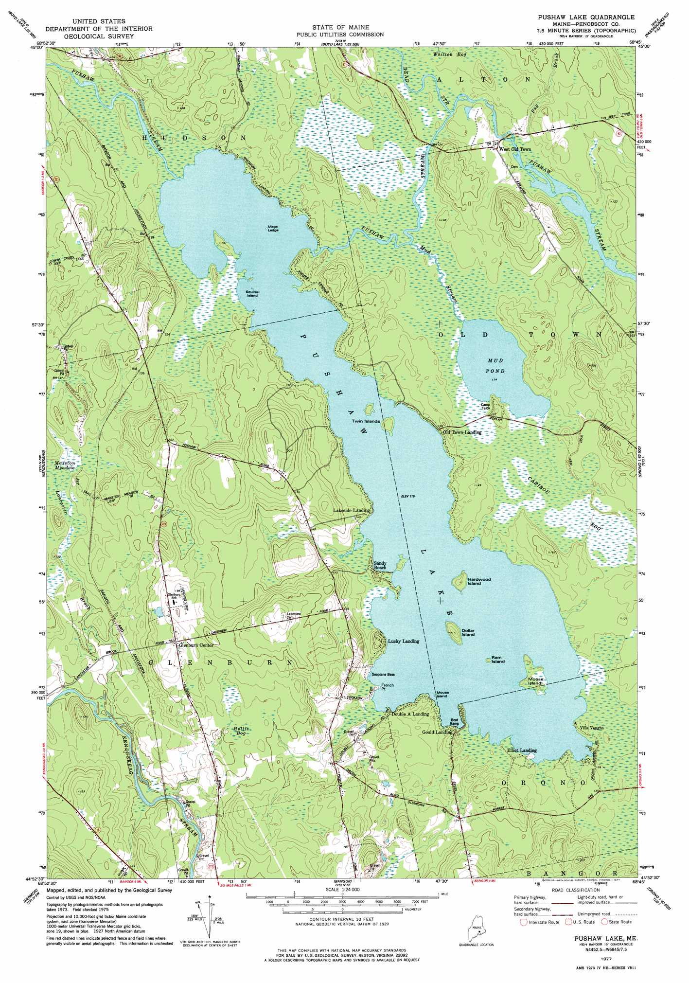 Topography Map Of Maine.Pushaw Lake Topographic Map Me Usgs Topo Quad 44068h7