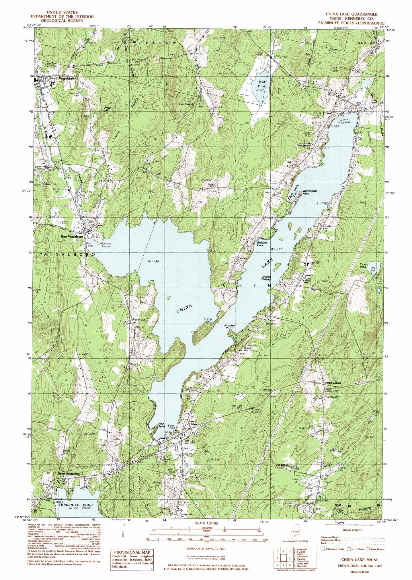 China Lake Topographic Map Me Usgs Topo Quad 44069d5