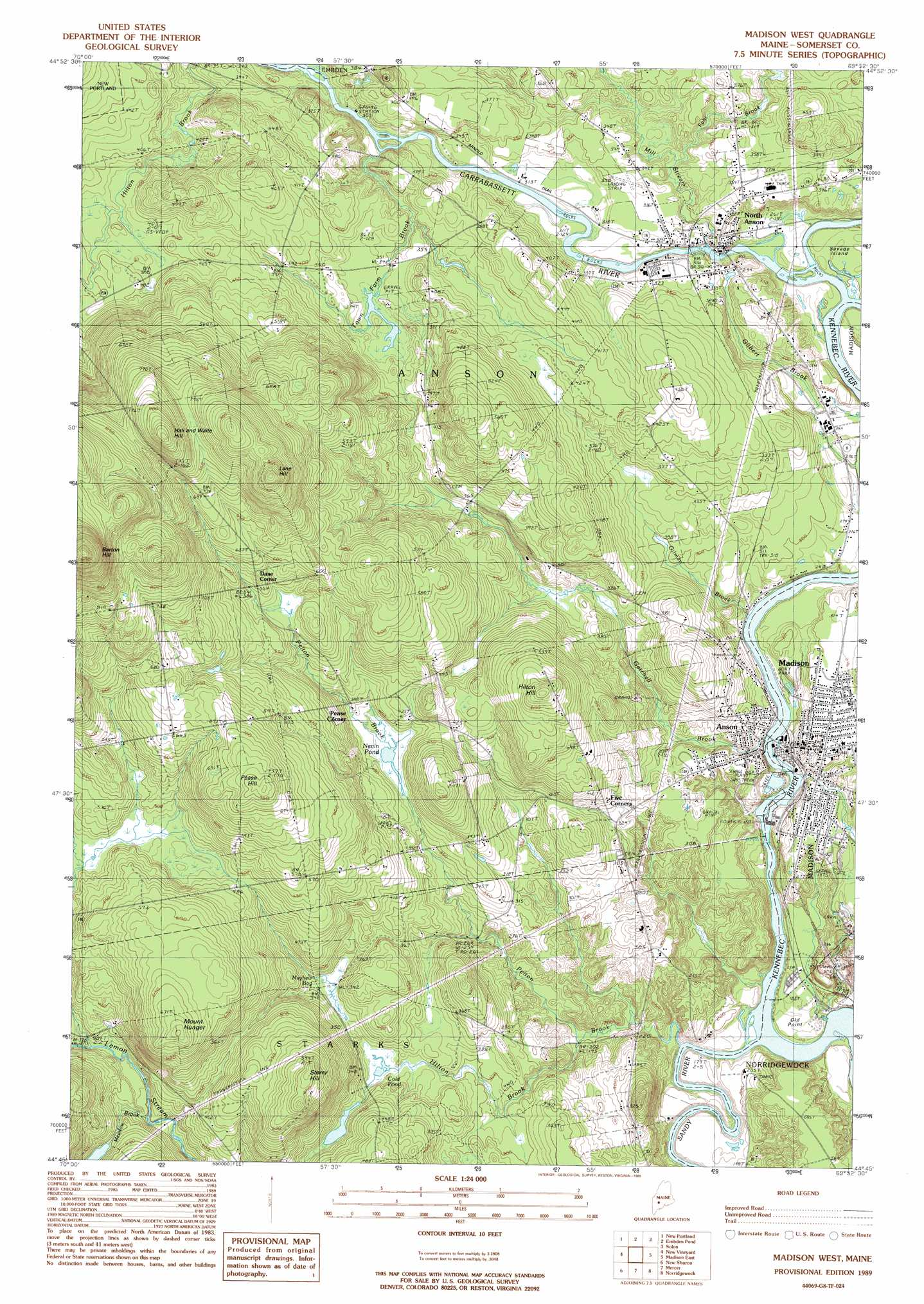Madison West Topographic Map ME  USGS Topo Quad 44069g8