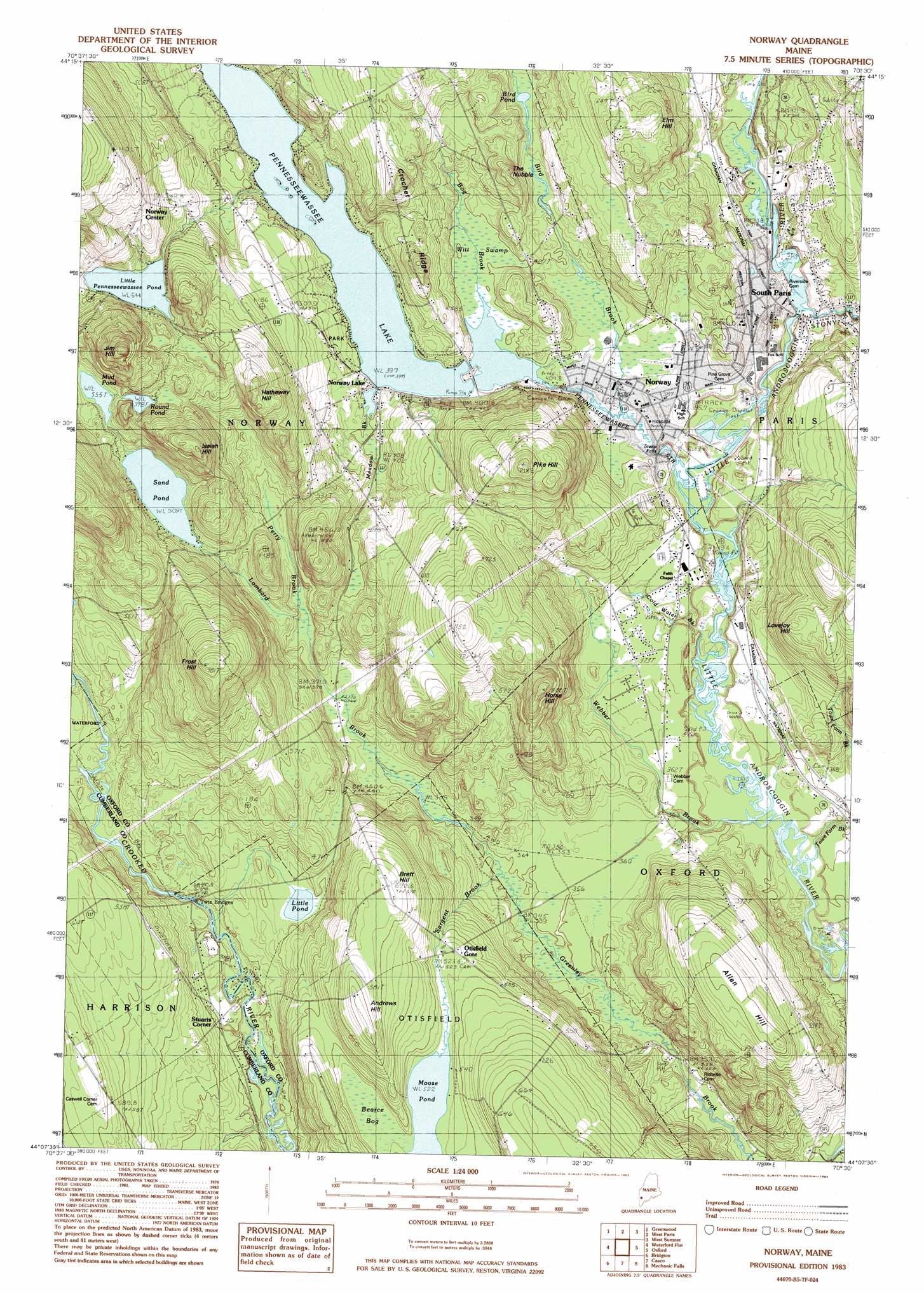 Norway Topographic Map ME USGS Topo Quad B - Norway topographic map