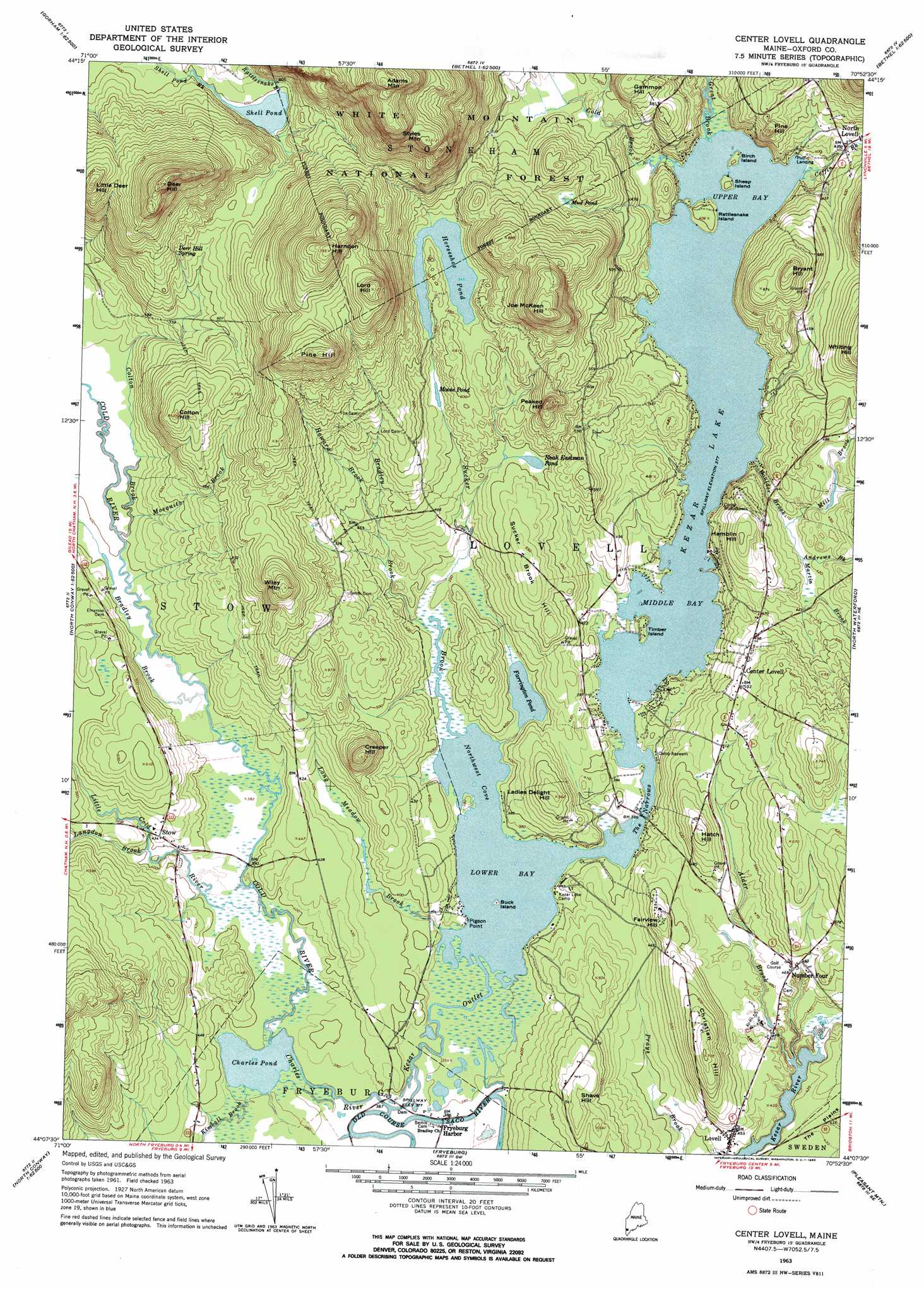Lovell Maine Map.Center Lovell Topographic Map Me Usgs Topo Quad 44070b8