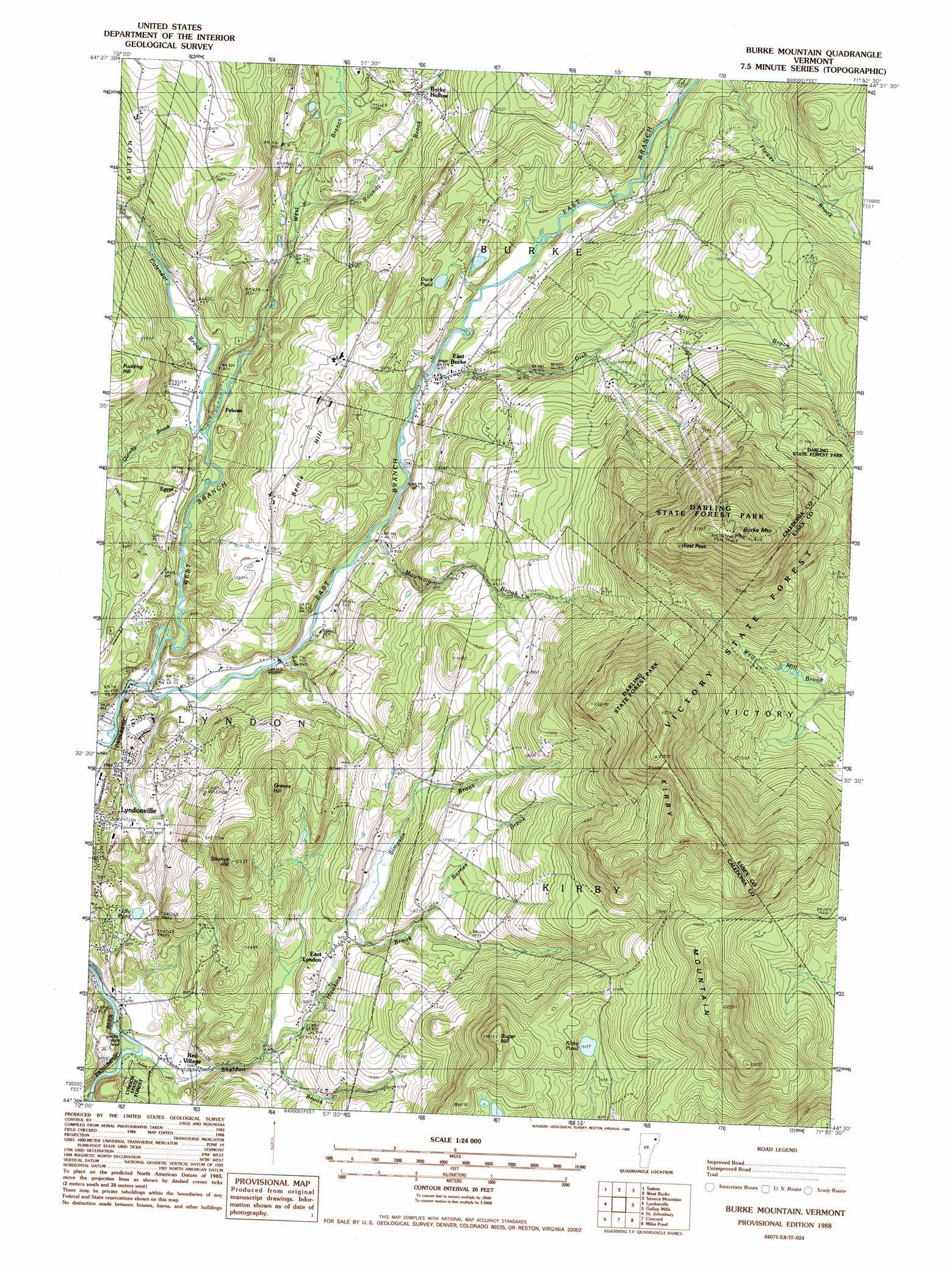 Burke Mountain Topographic Map Vt Usgs Topo Quad 44071e8