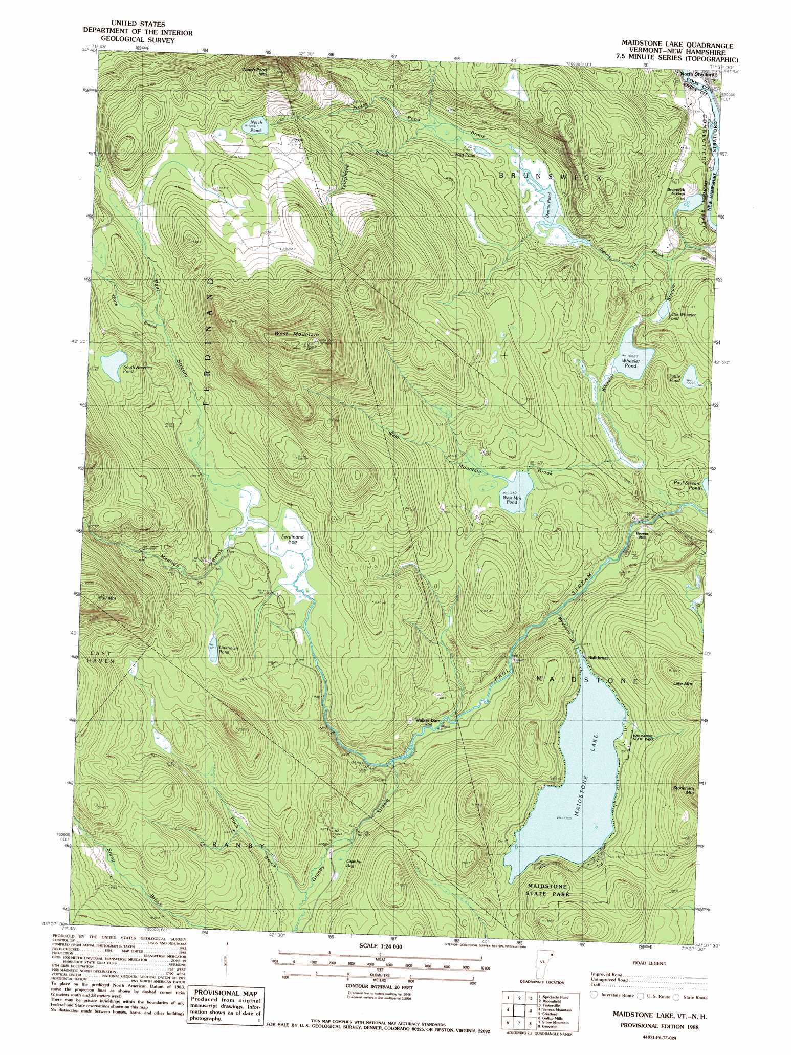 Maidstone Lake topographic map VT NH USGS Topo Quad 44071f6