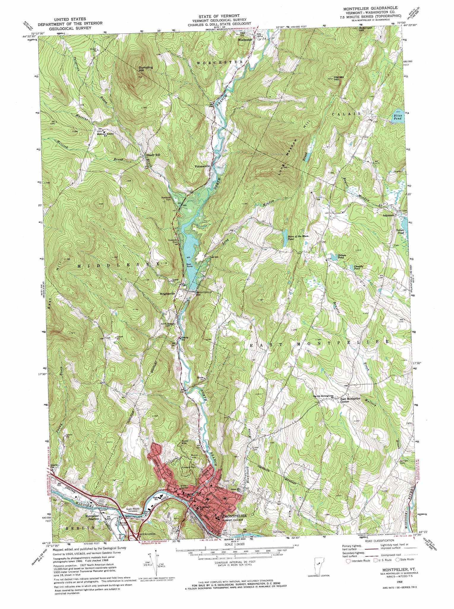 Montpelier Topographic Map VT  USGS Topo Quad 44072c5