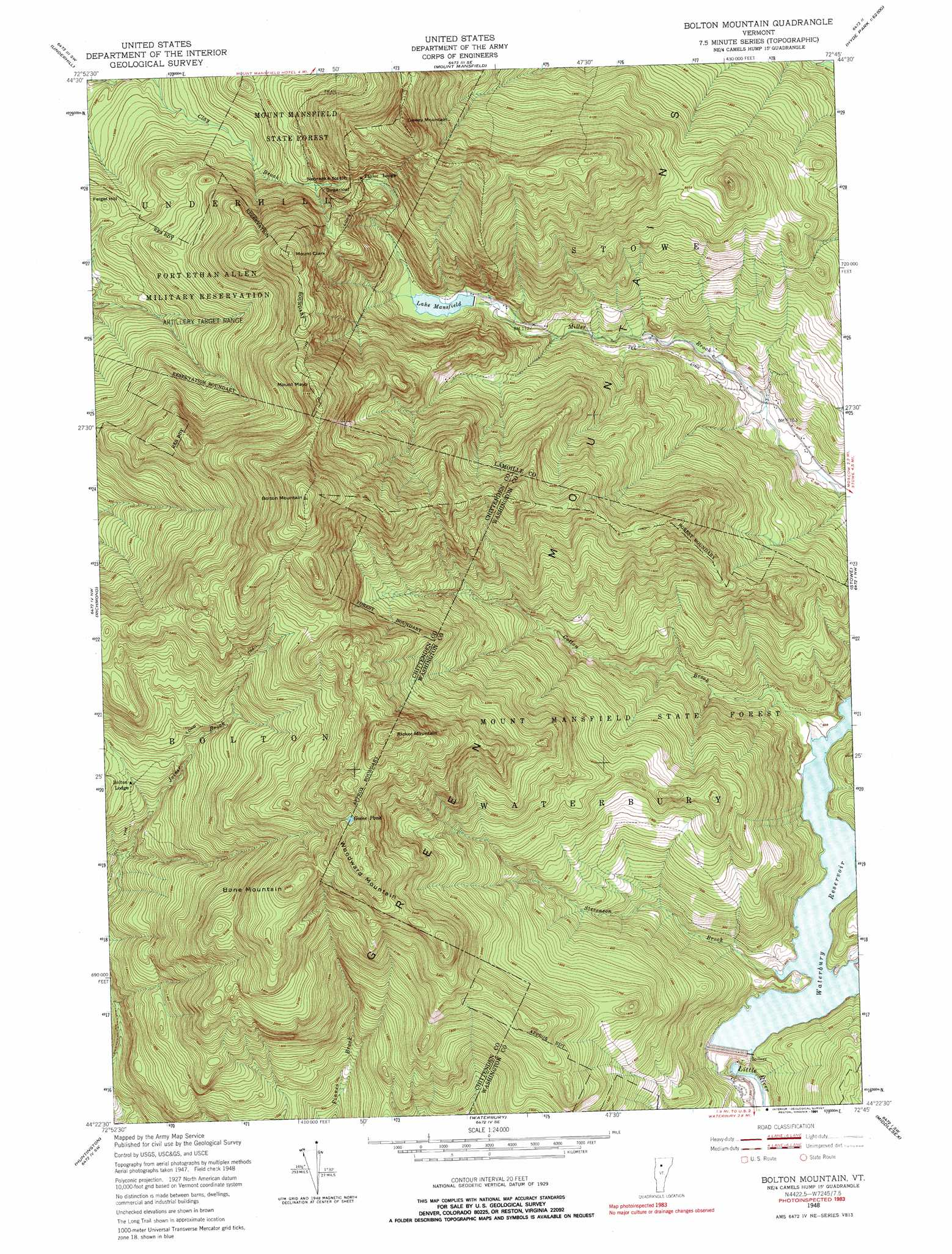 Bolton Mountain topographic map, VT - USGS Topo Quad 44072d7