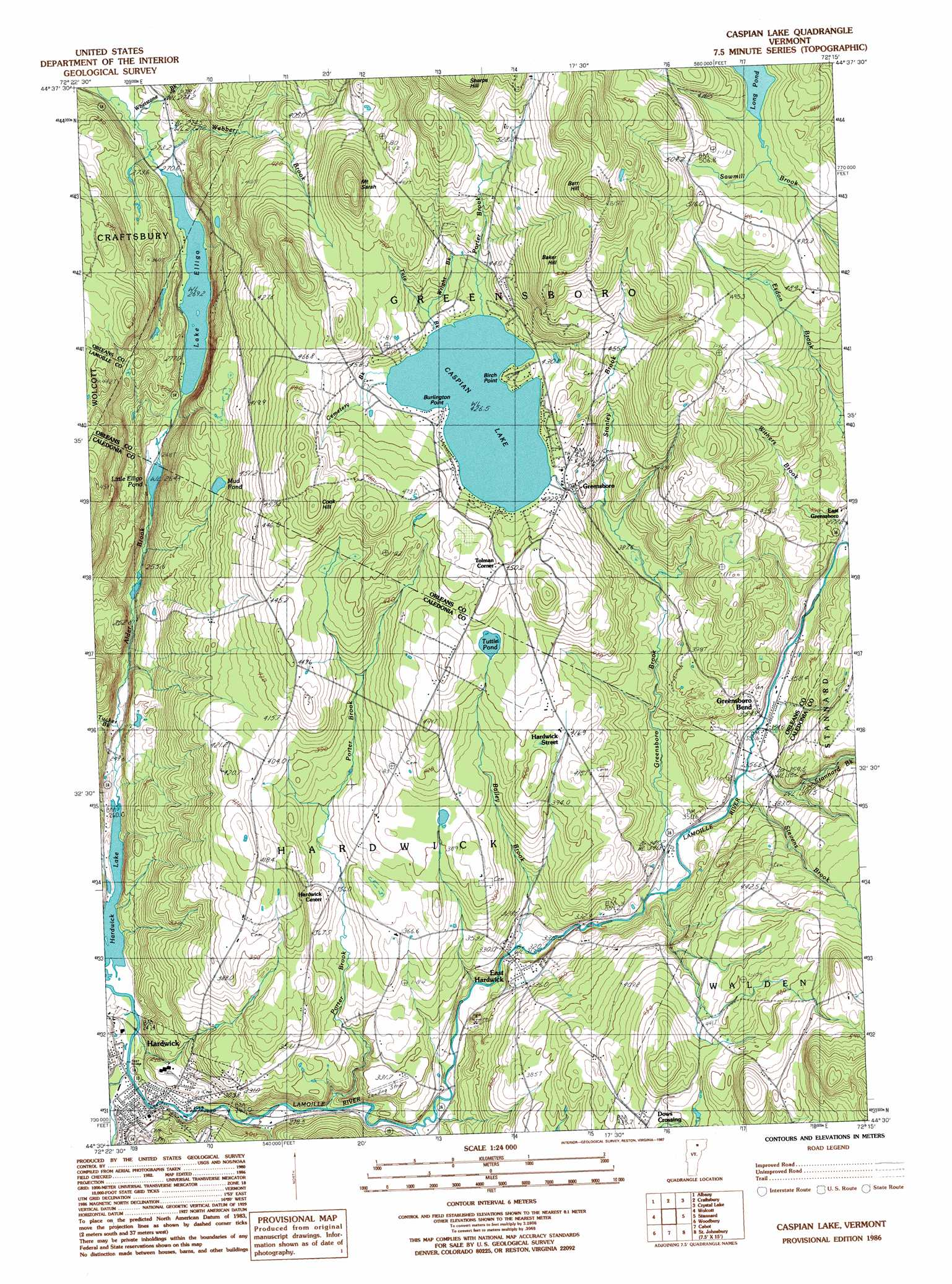 Caspian Lake topographic map VT USGS Topo Quad 44072e3
