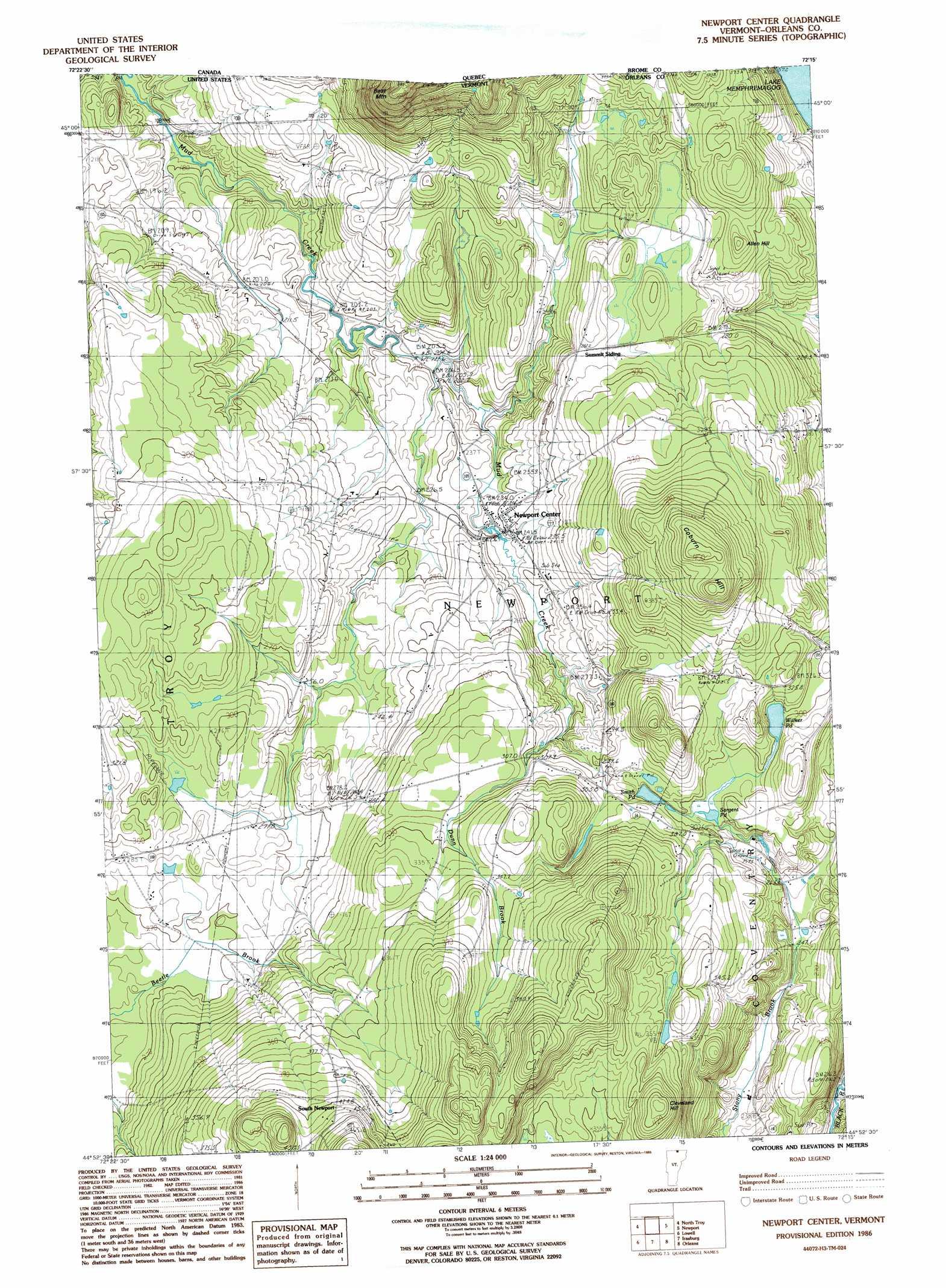 Newport Center topographic map, VT - USGS Topo Quad 44072h3