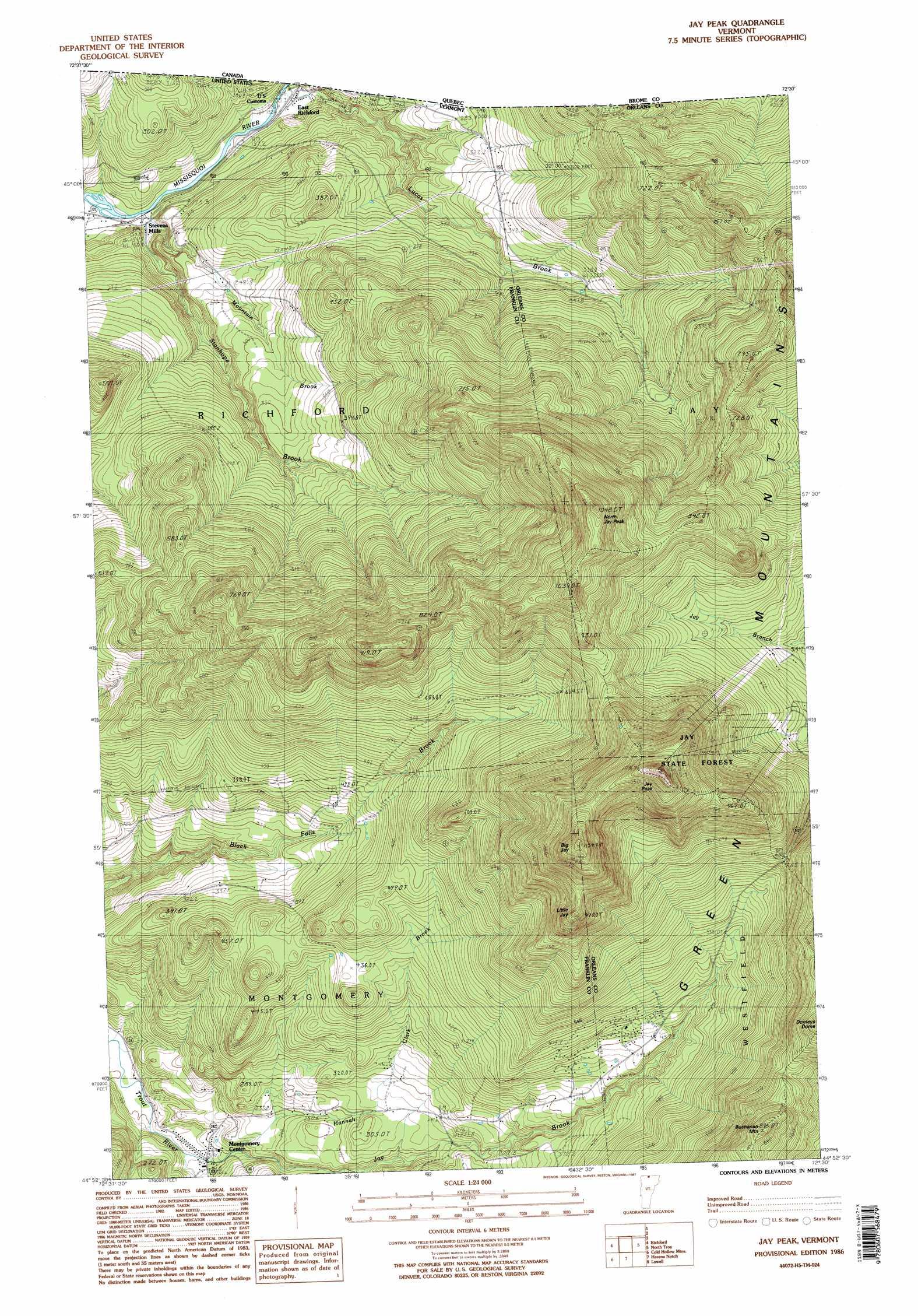 Jay Peak Topographic Map VT  USGS Topo Quad 44072h5