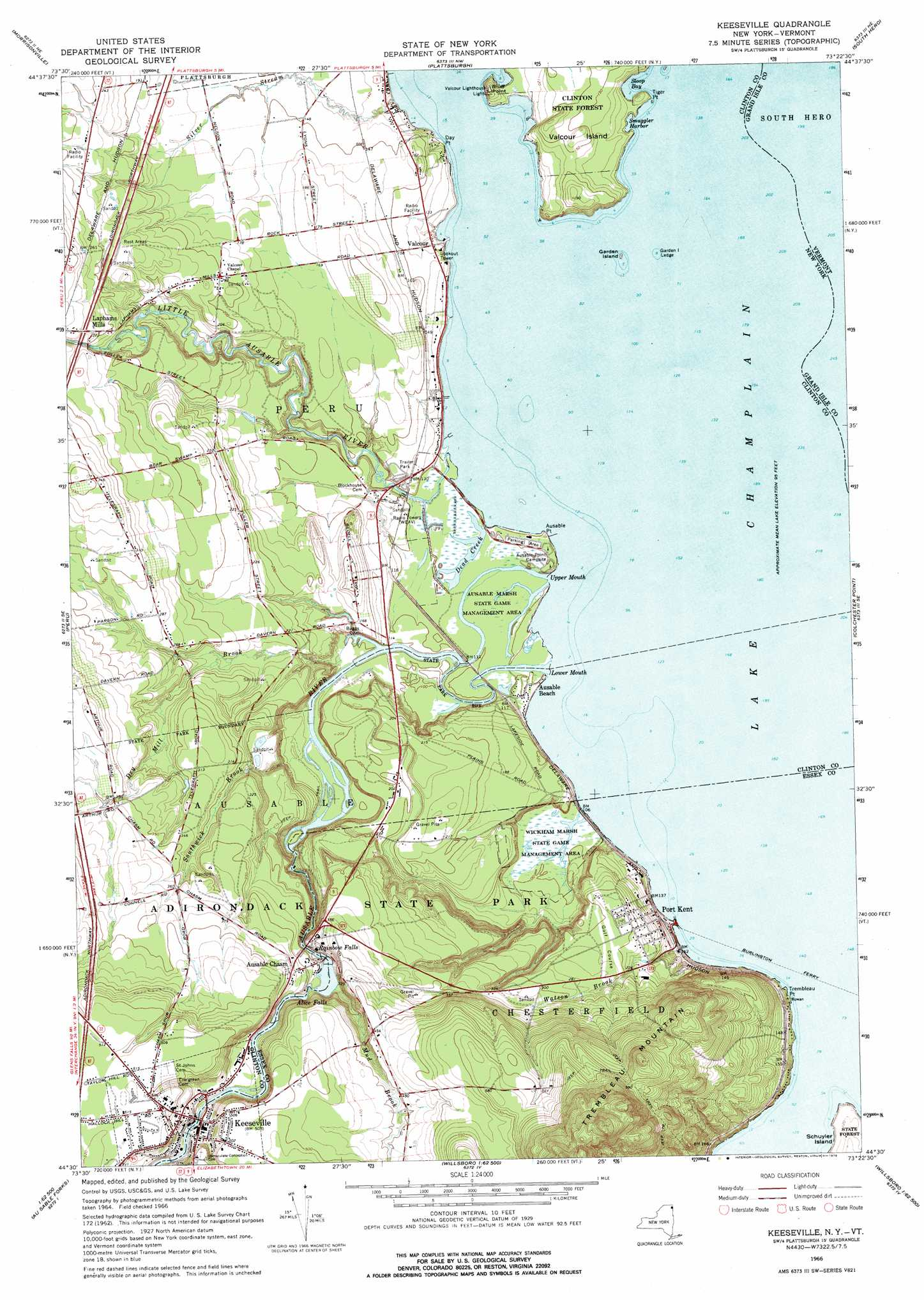 Keeseville Topographic Map NY VT USGS Topo Quad E - Nyc map topographic