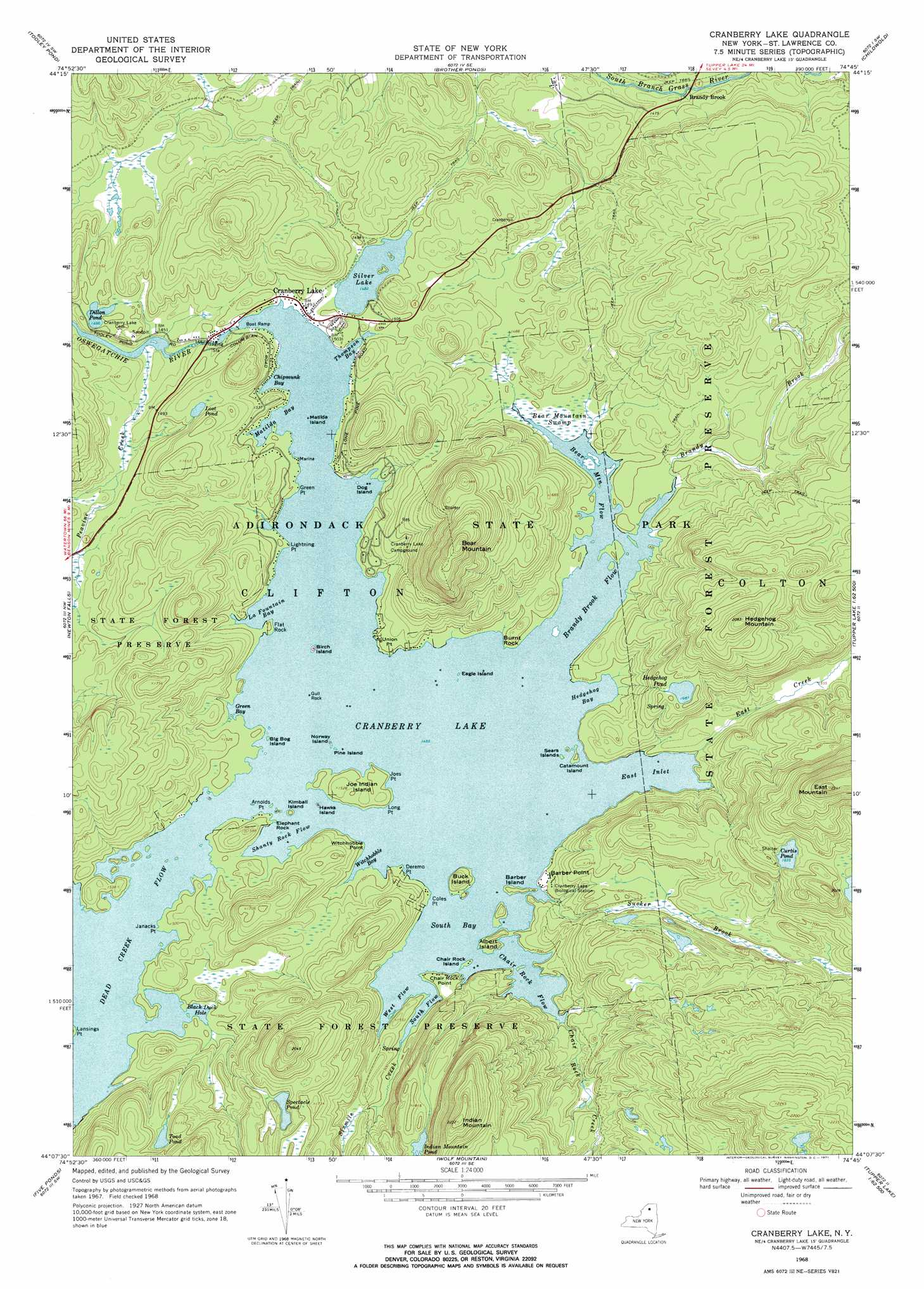 Cranberry Lake Topographic Map NY USGS Topo Quad B - Nyc map topographic