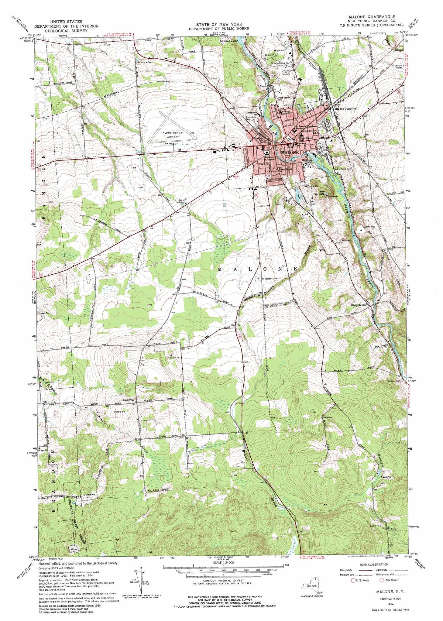 Malone topographic map, NY - USGS Topo Quad 44074g3