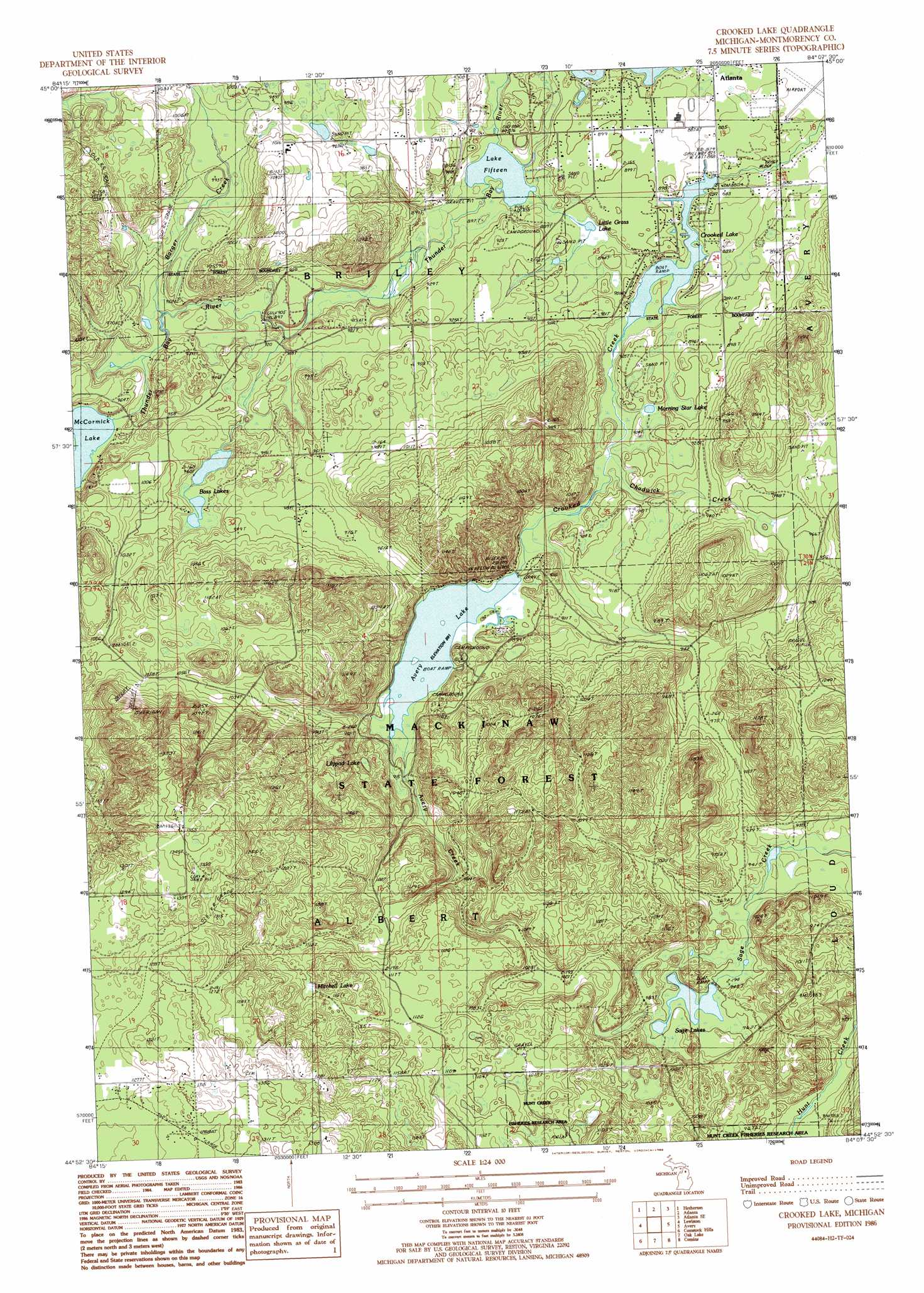Crooked Lake Topographic Map MI USGS Topo Quad H - Lake michigan us map